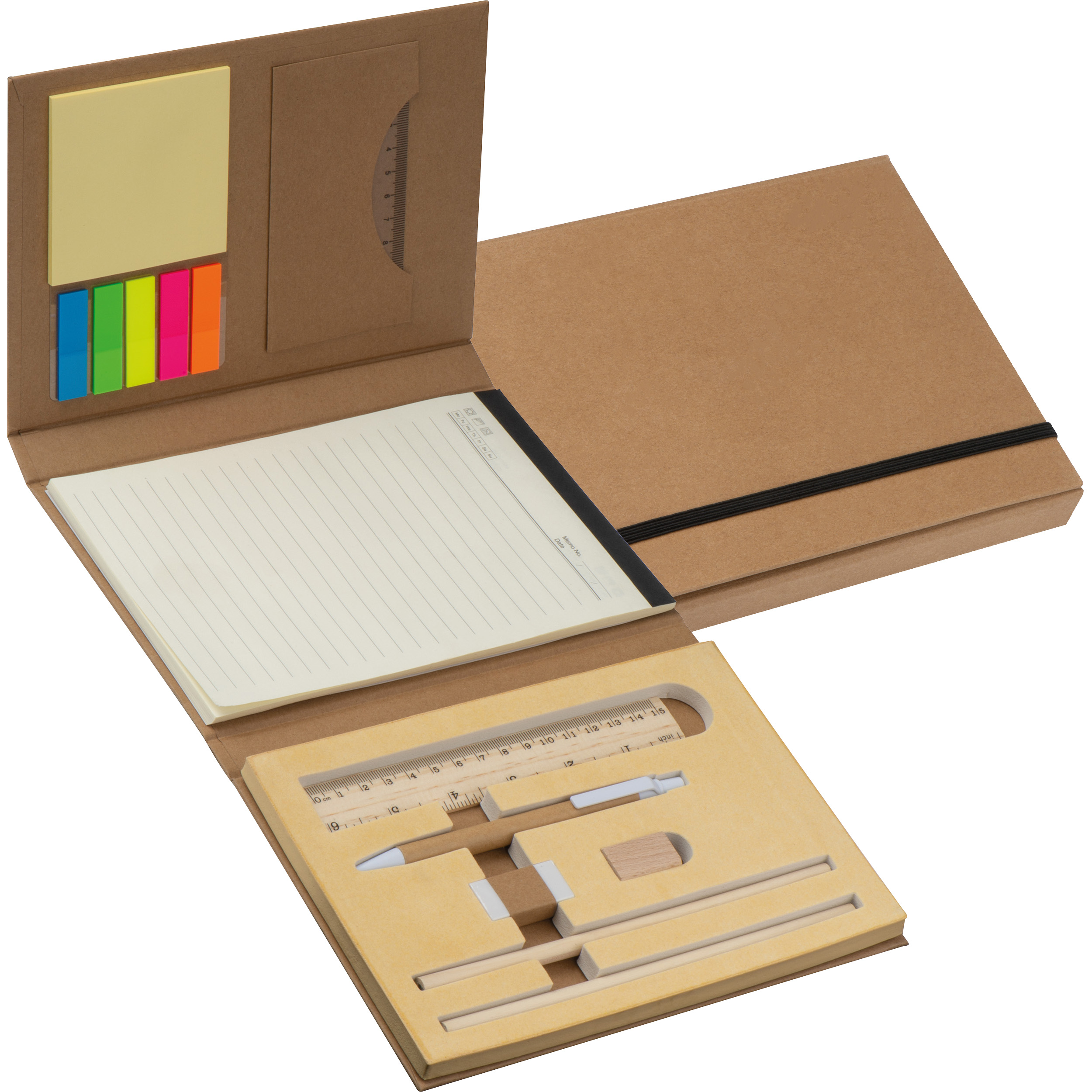 Conférencier avec couverture en carton, règle, bloc-notes et marqueurs adhésifs