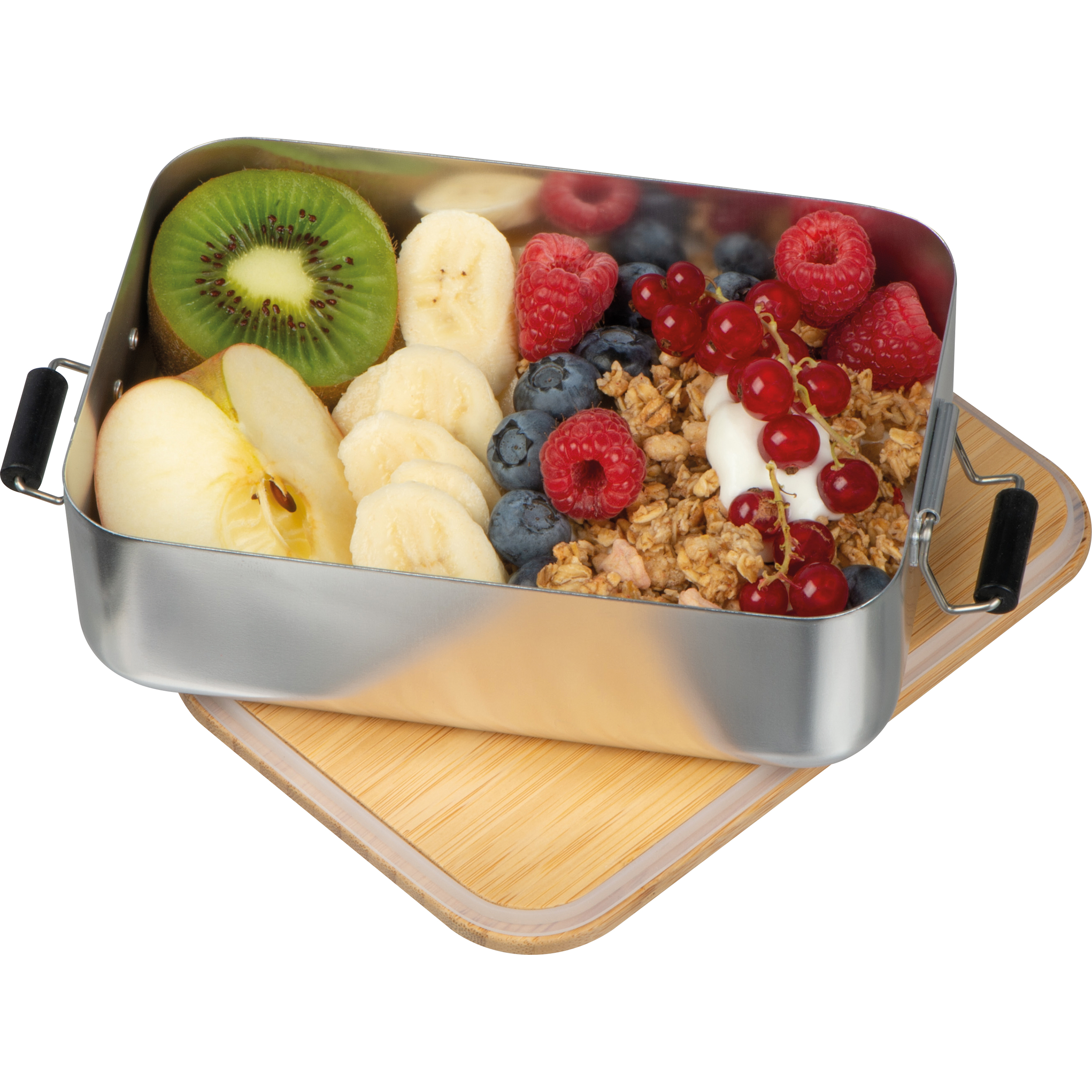 stainless steel lunchbox with bamboo lid