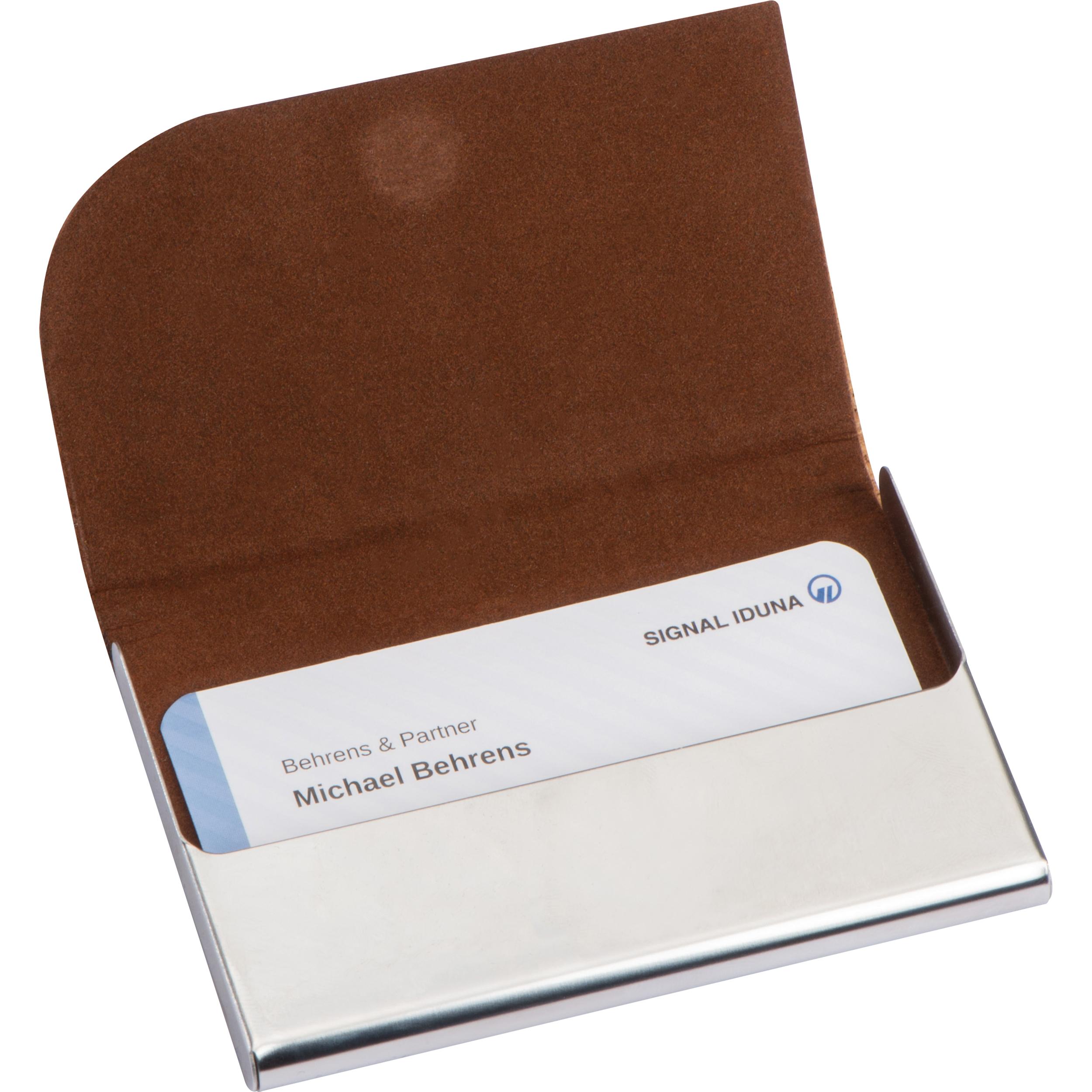 Porte-cartes de visite en métal avec surface en liège
