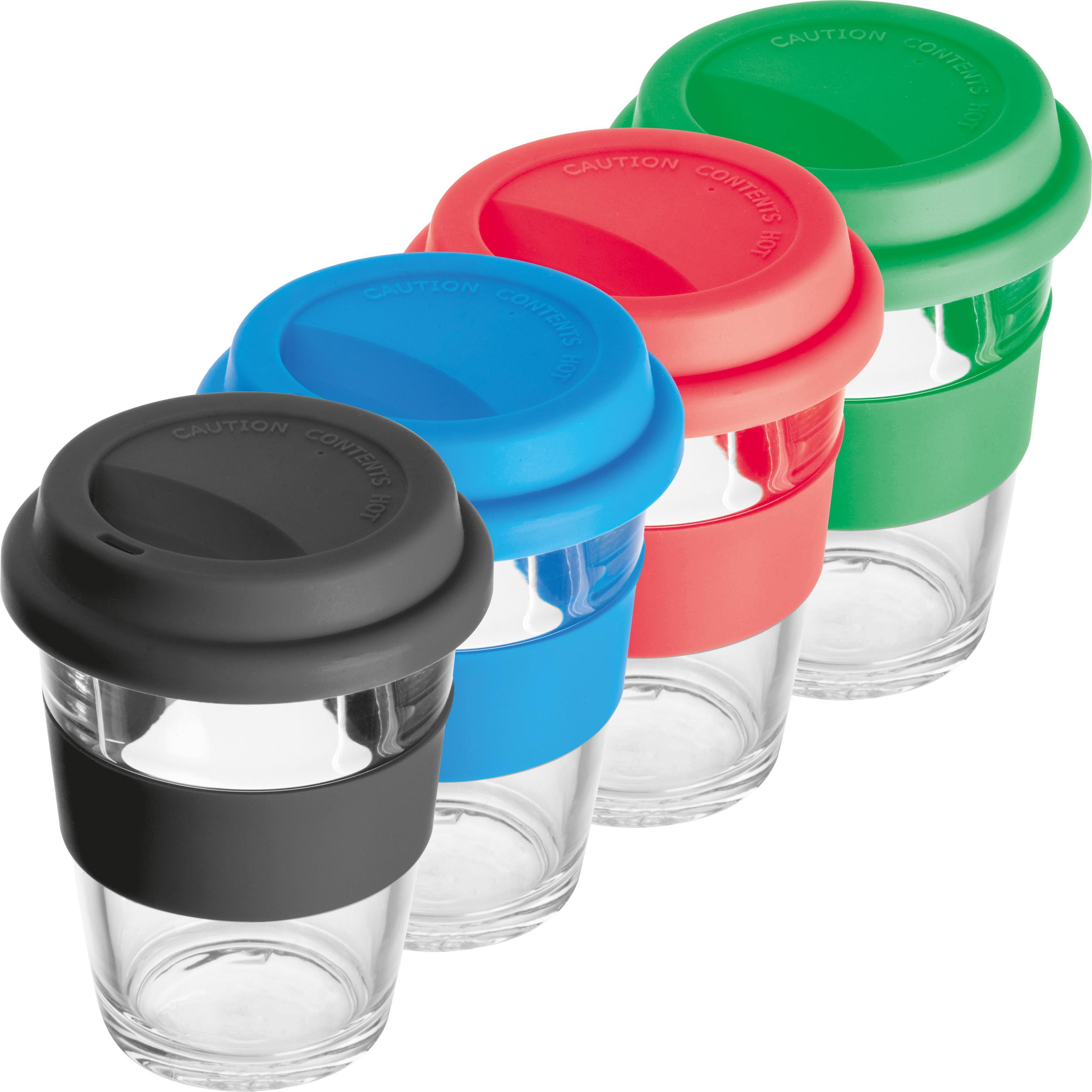 Glass mug with silicon sleeve and lid