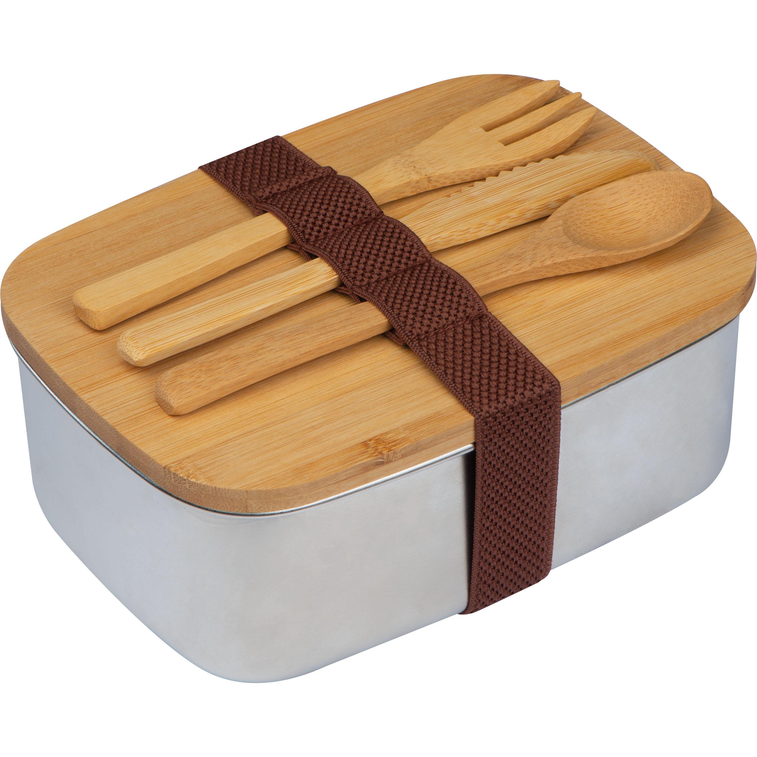 Boîte à snack avec couvercle en bambou et bande de silicone pour fermer