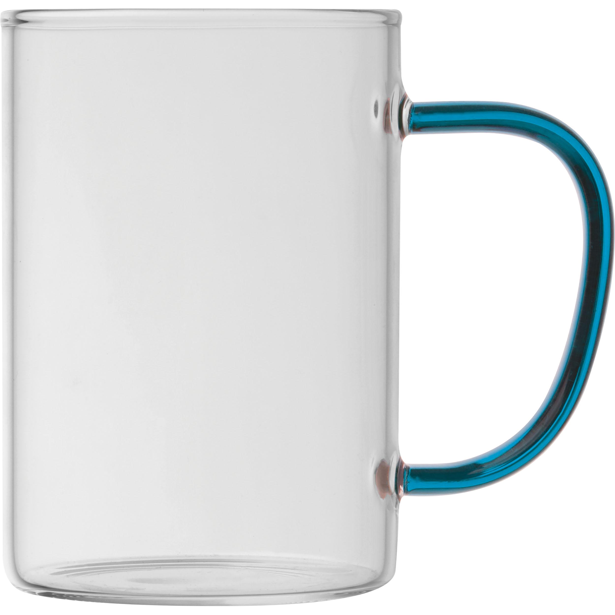 Tasse en verre avec poignée colorée
