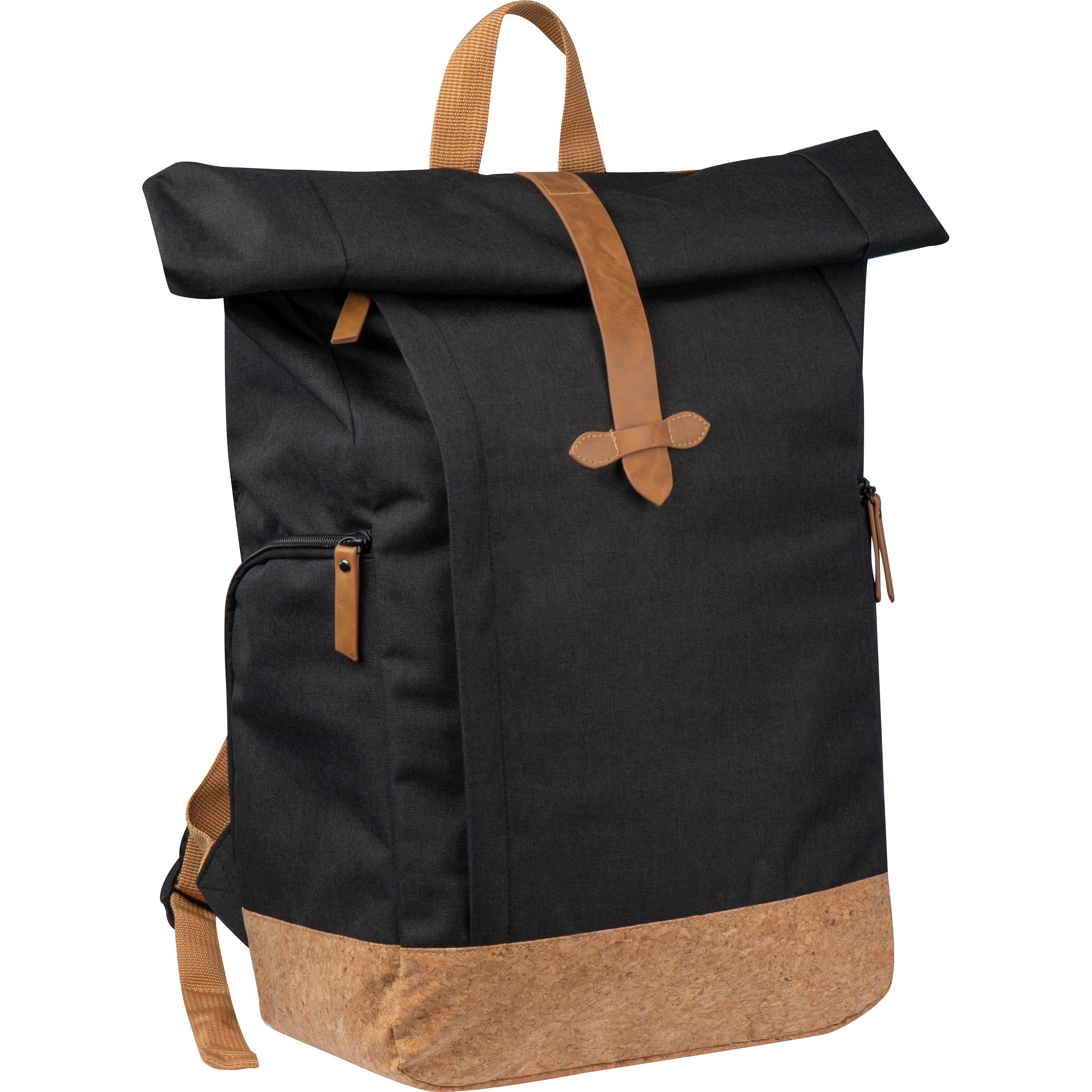 RPET Rucksack aus 300D Two-tone Polyester, 210D RPET und Korkboden