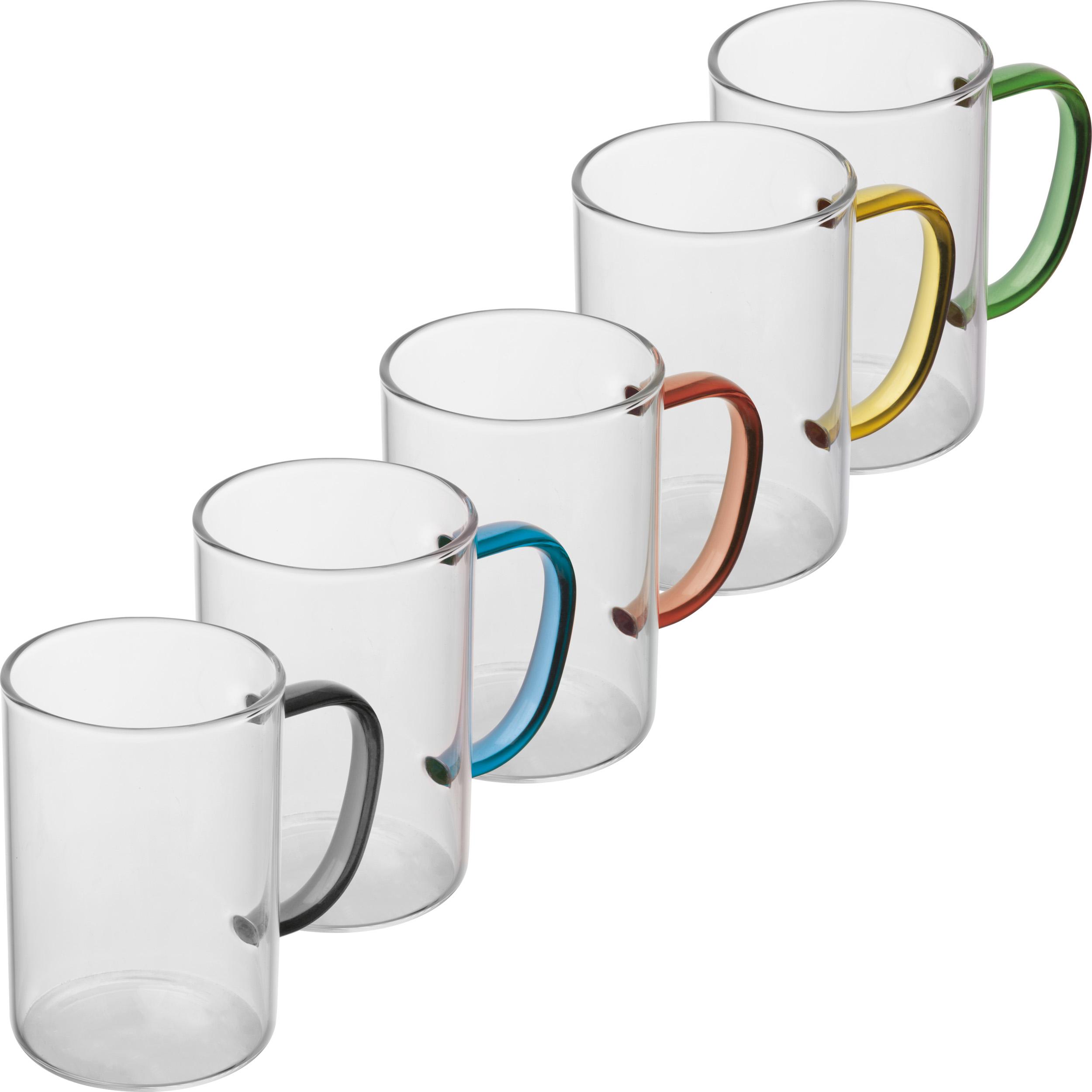 Glass Mug with colored Handle