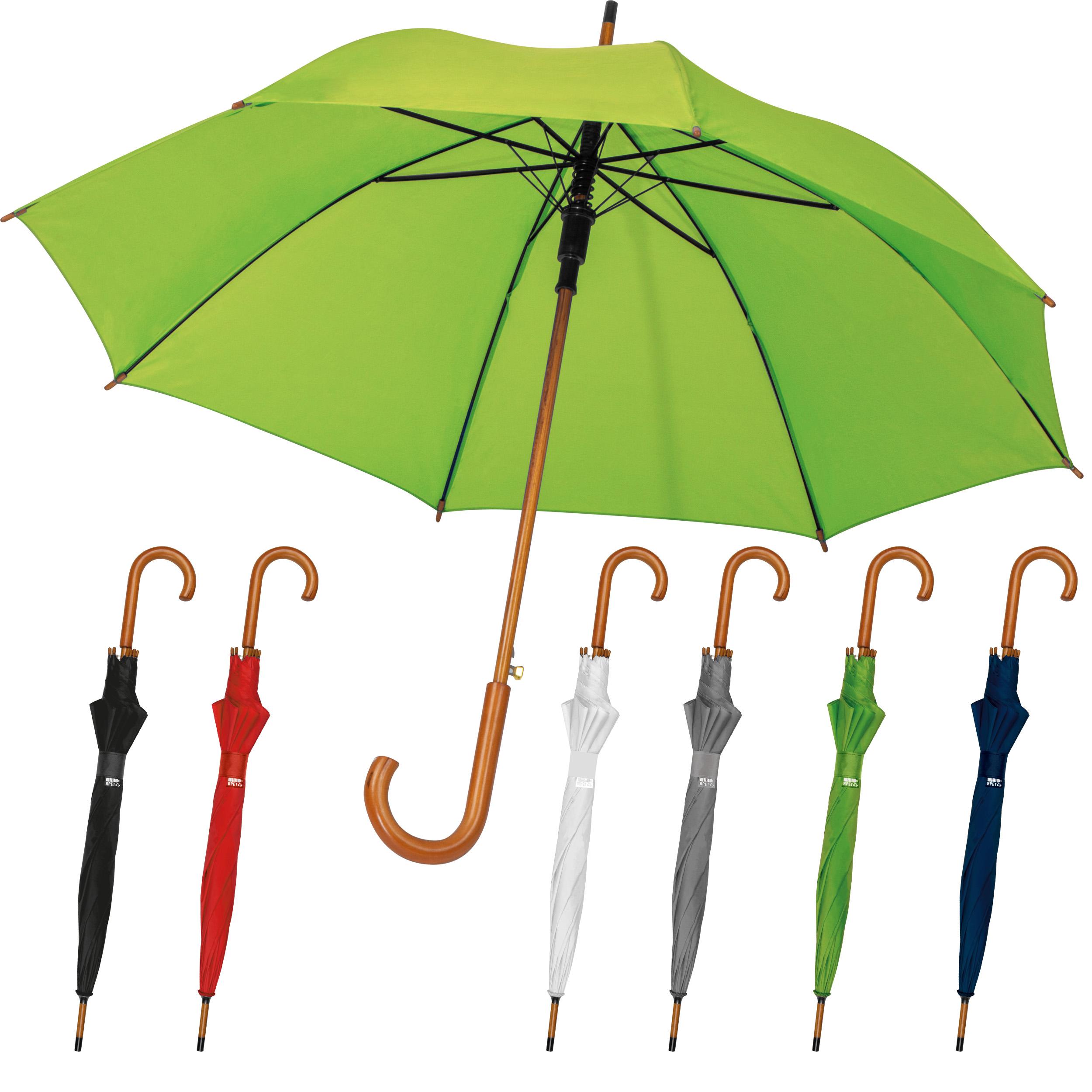 Parapluie automatique avec poignée en bois et tiges en fibre de verre