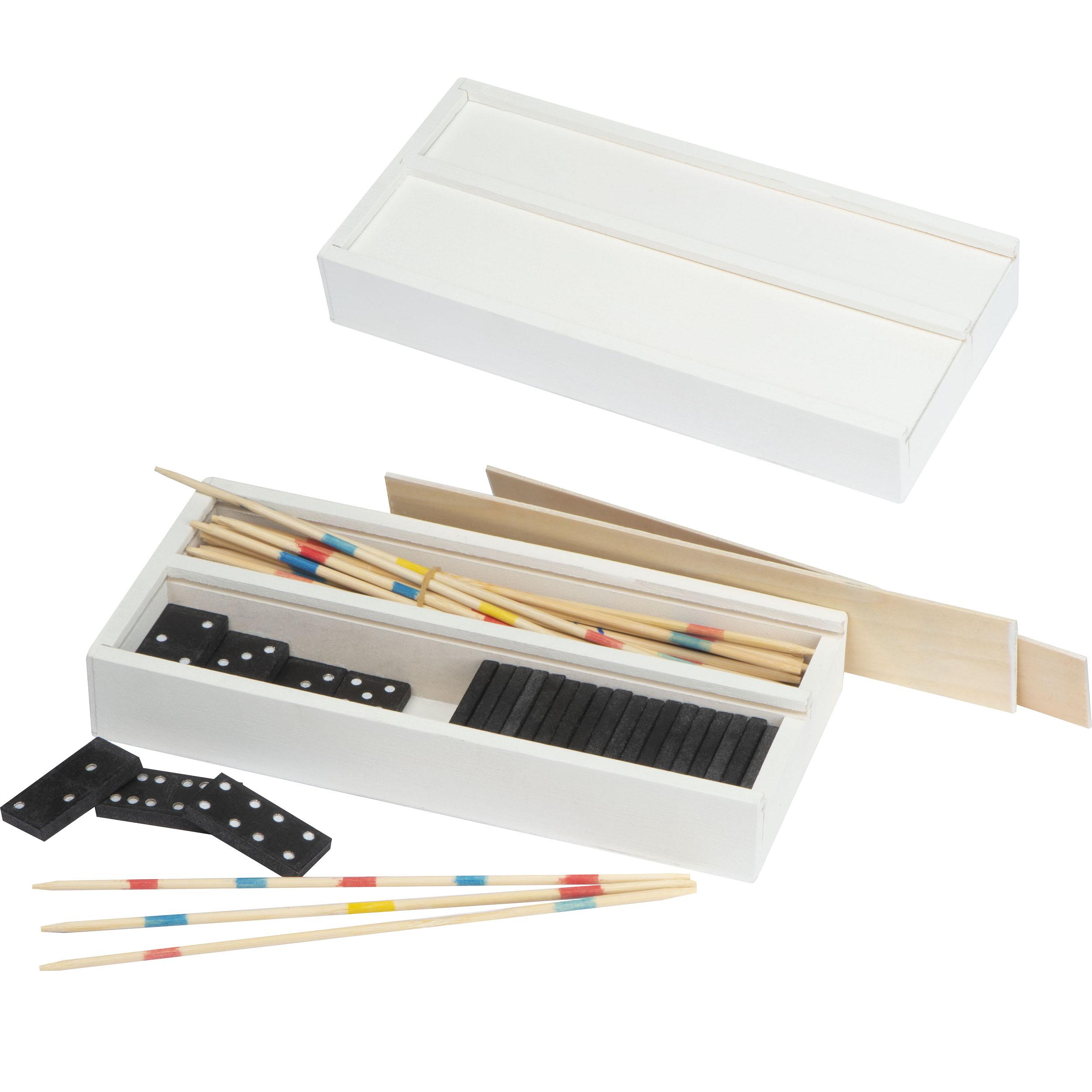 Holzbox mit Mikado und Domino