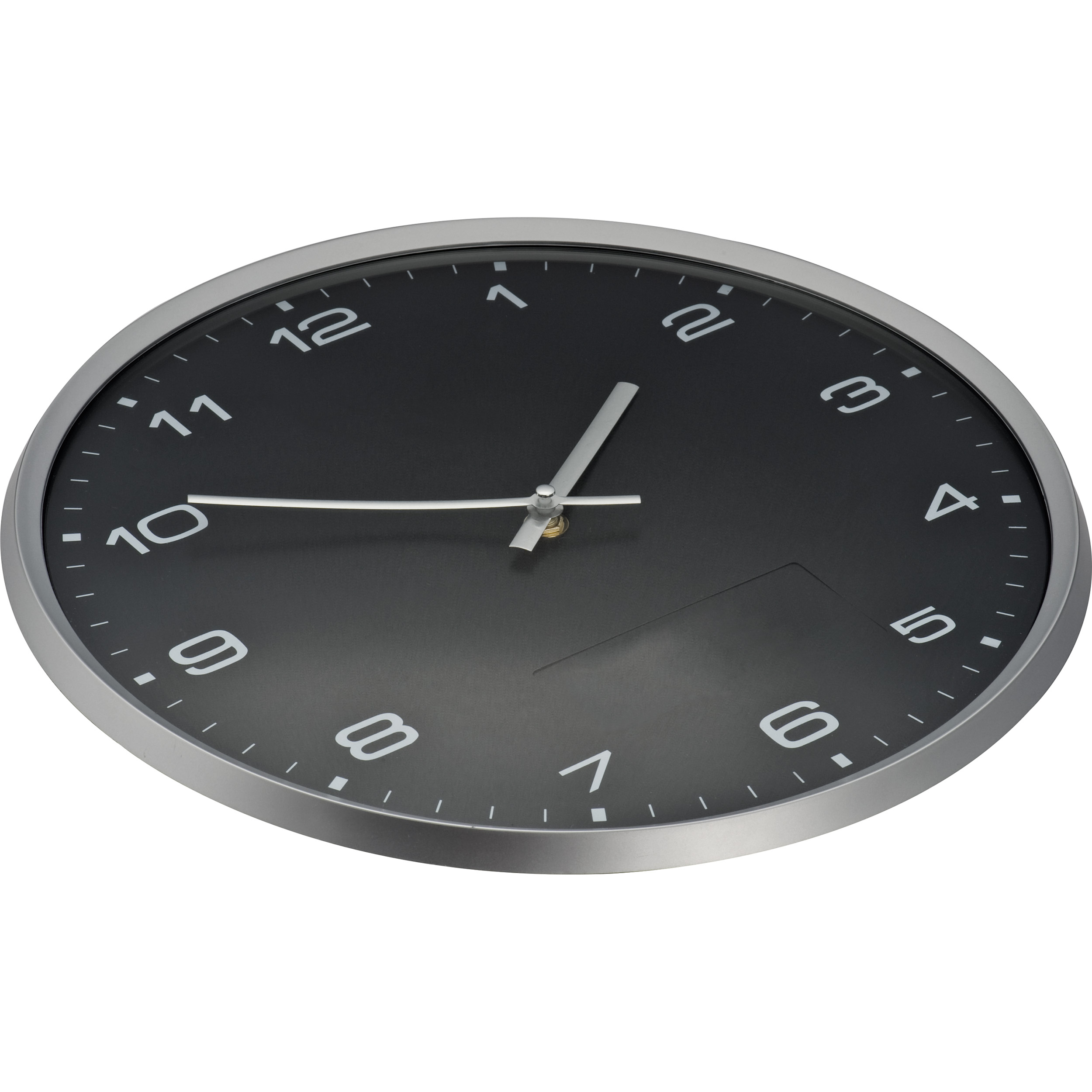 Wall clock with silver frame and click system