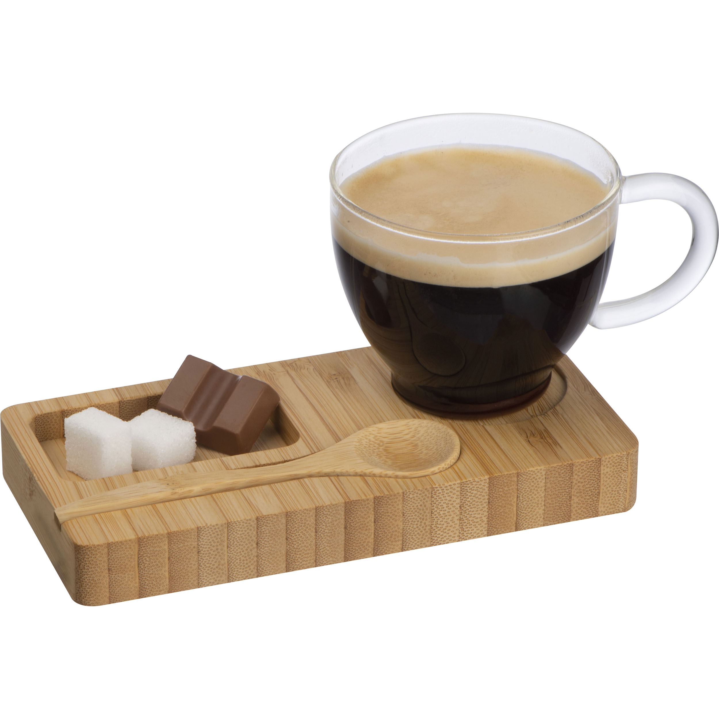 Bamboo Tray with Spoon and Glass Mug