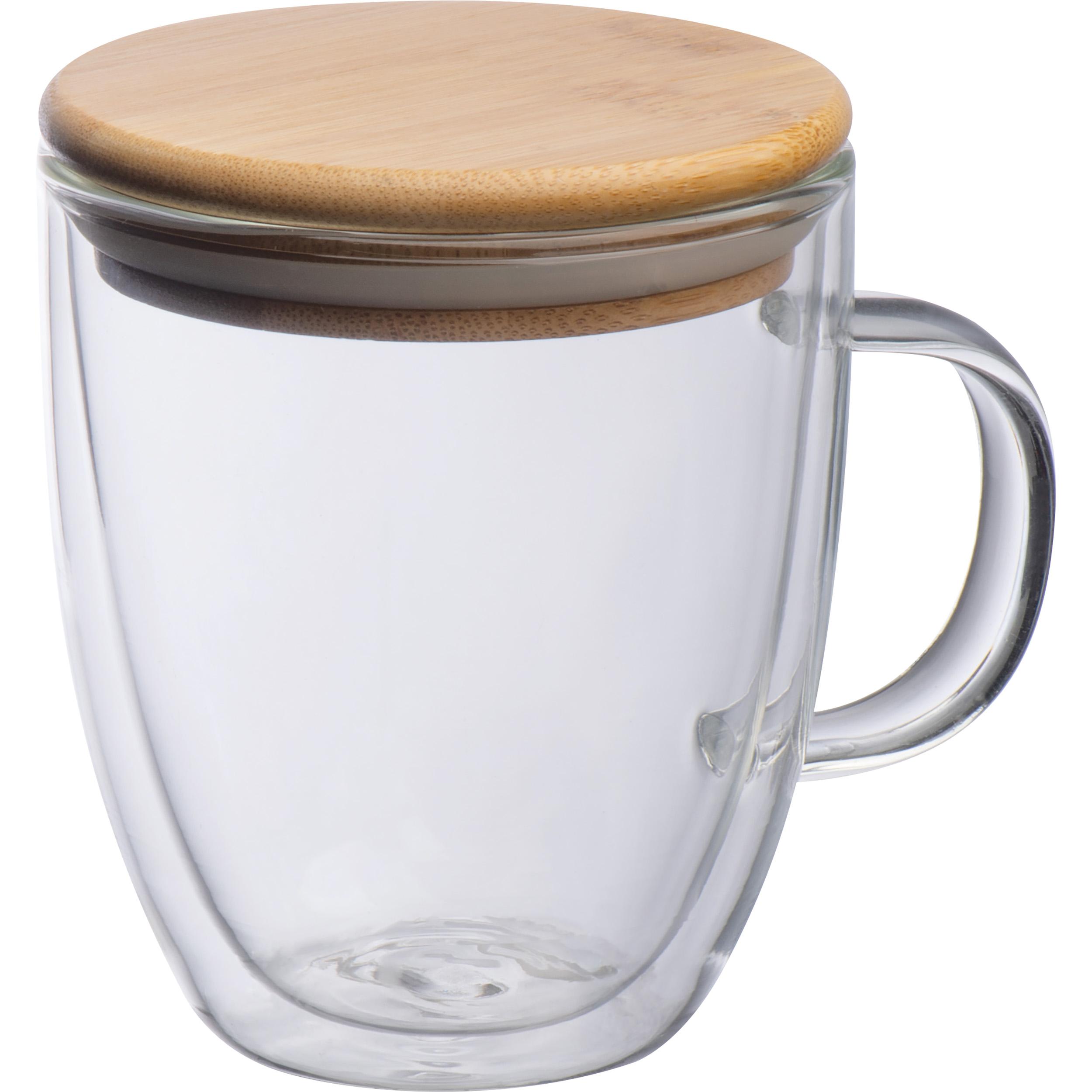 Doppelwandiges Glas mit Griff und einem Füllvermögen von 350 ml