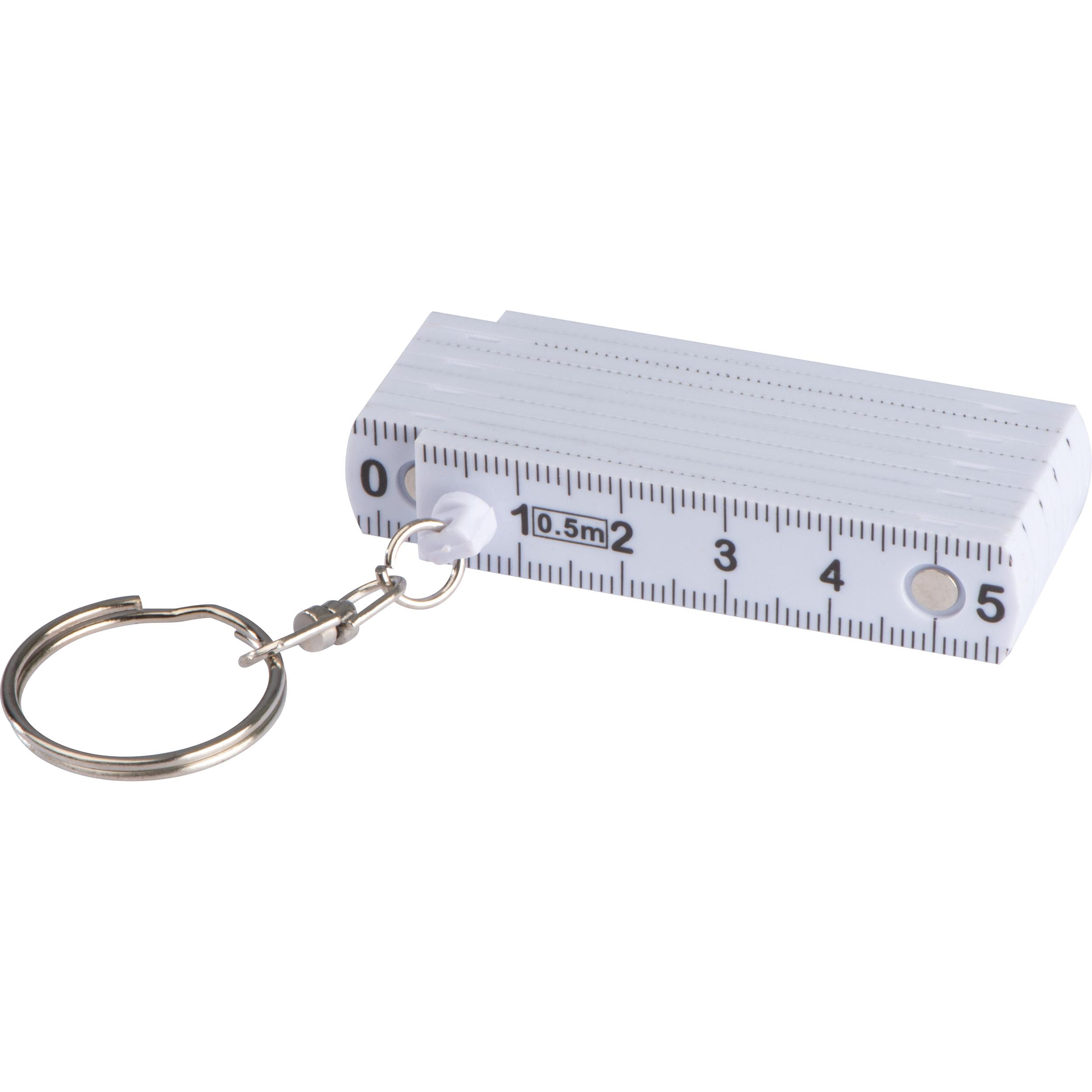 Keyring with folding ruler