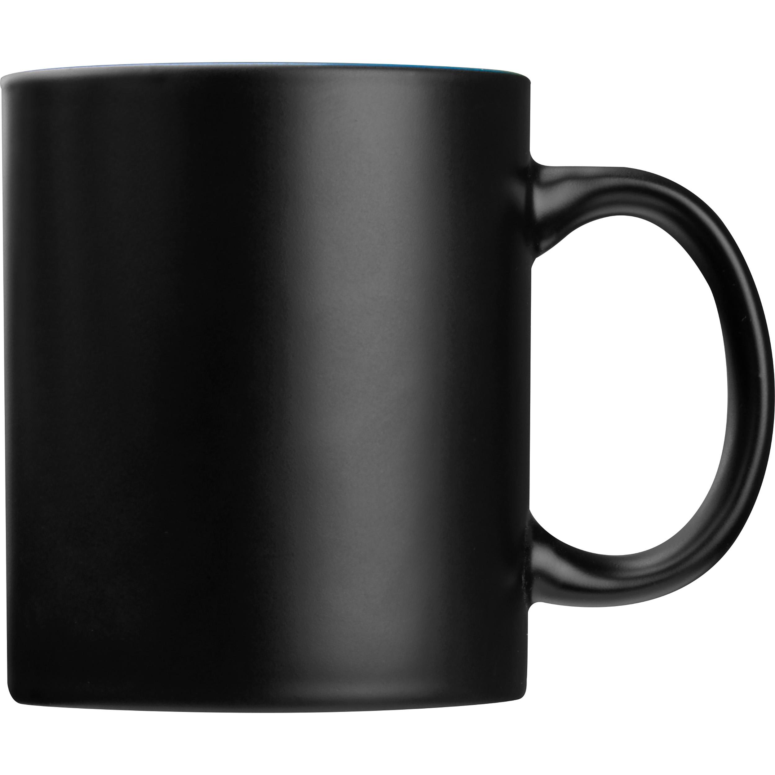 Black mug with colored inside