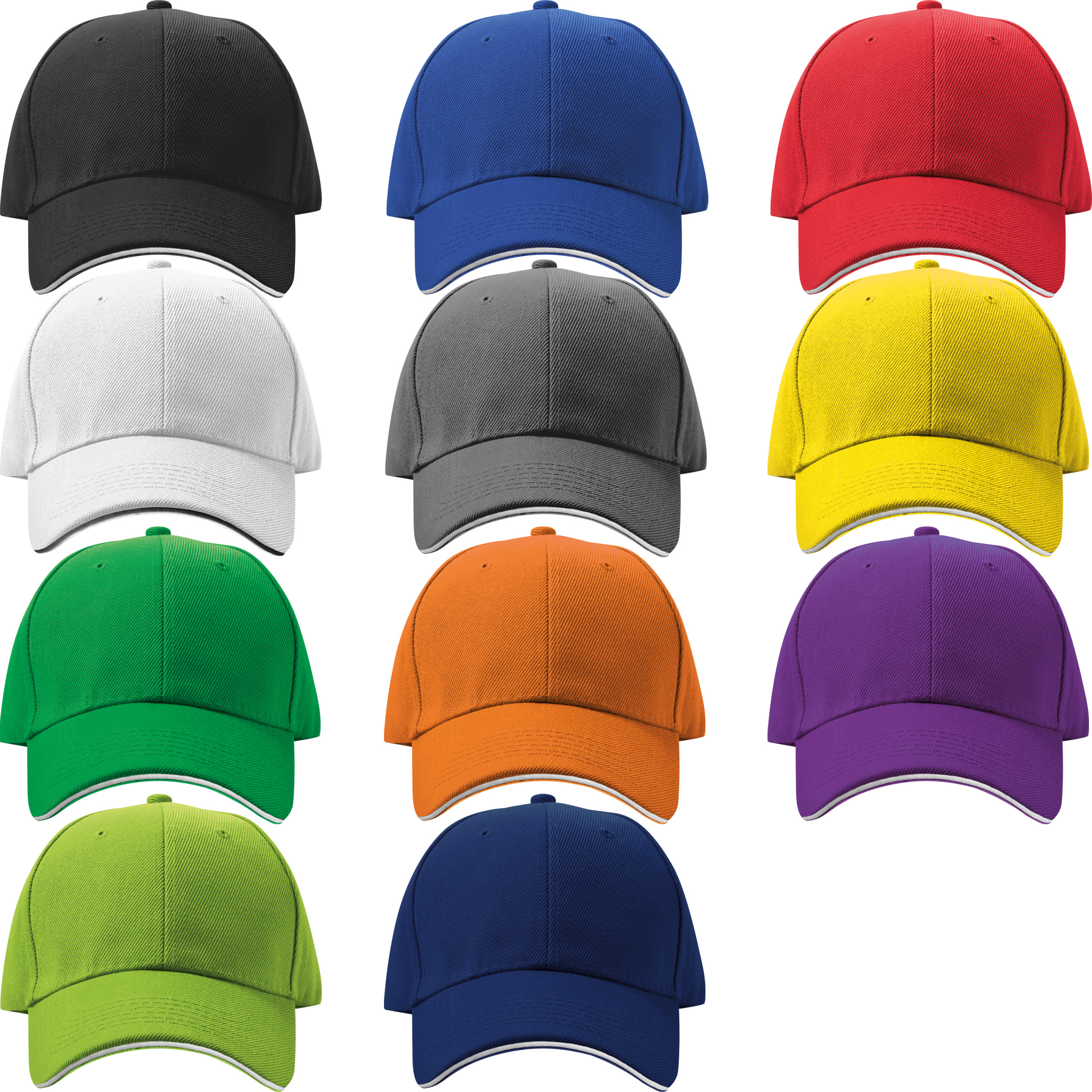 Casquette '6 Panel' 'Sandwich' 'heavy-brushed'