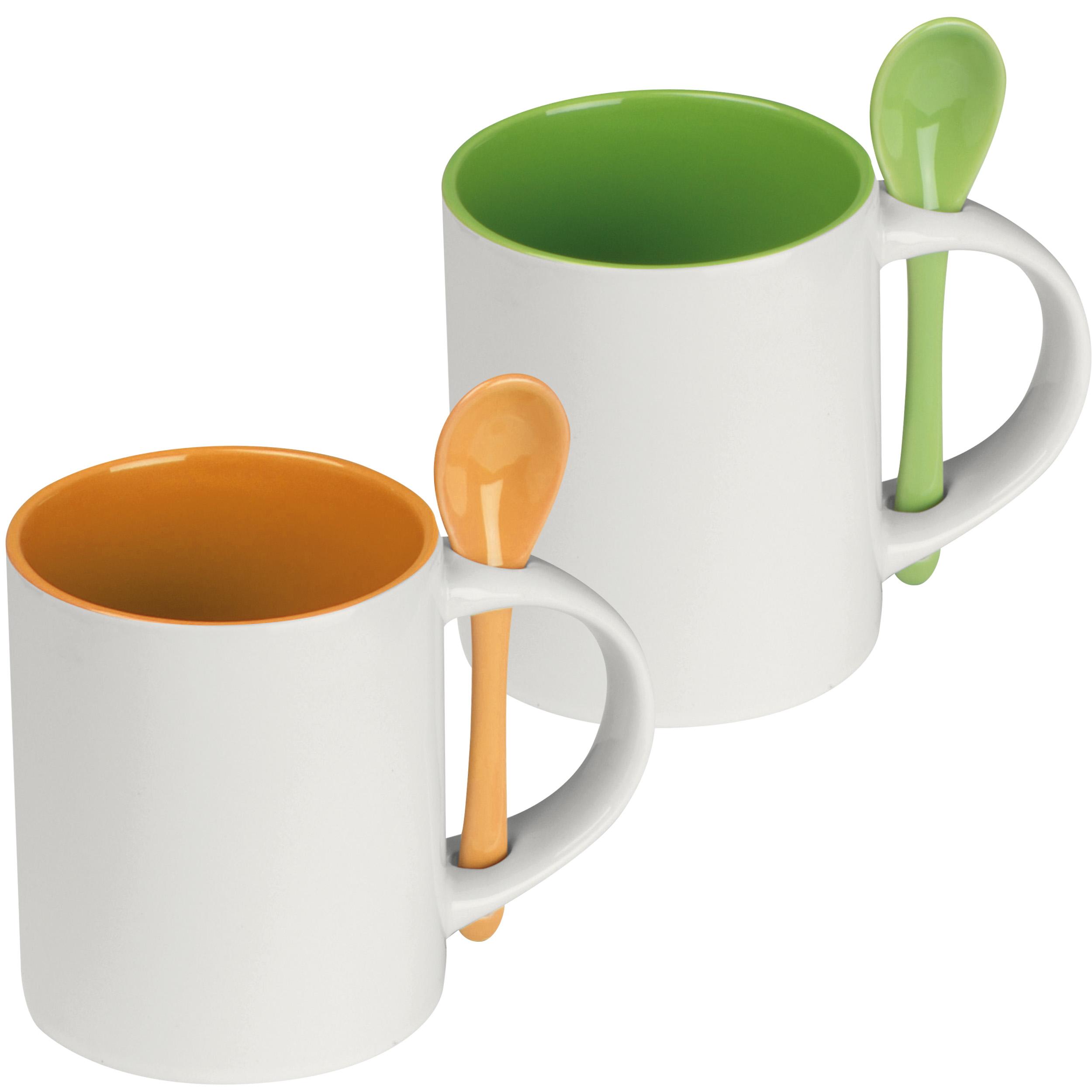 Tasse aus Keramik mit Löffel, 300 ml