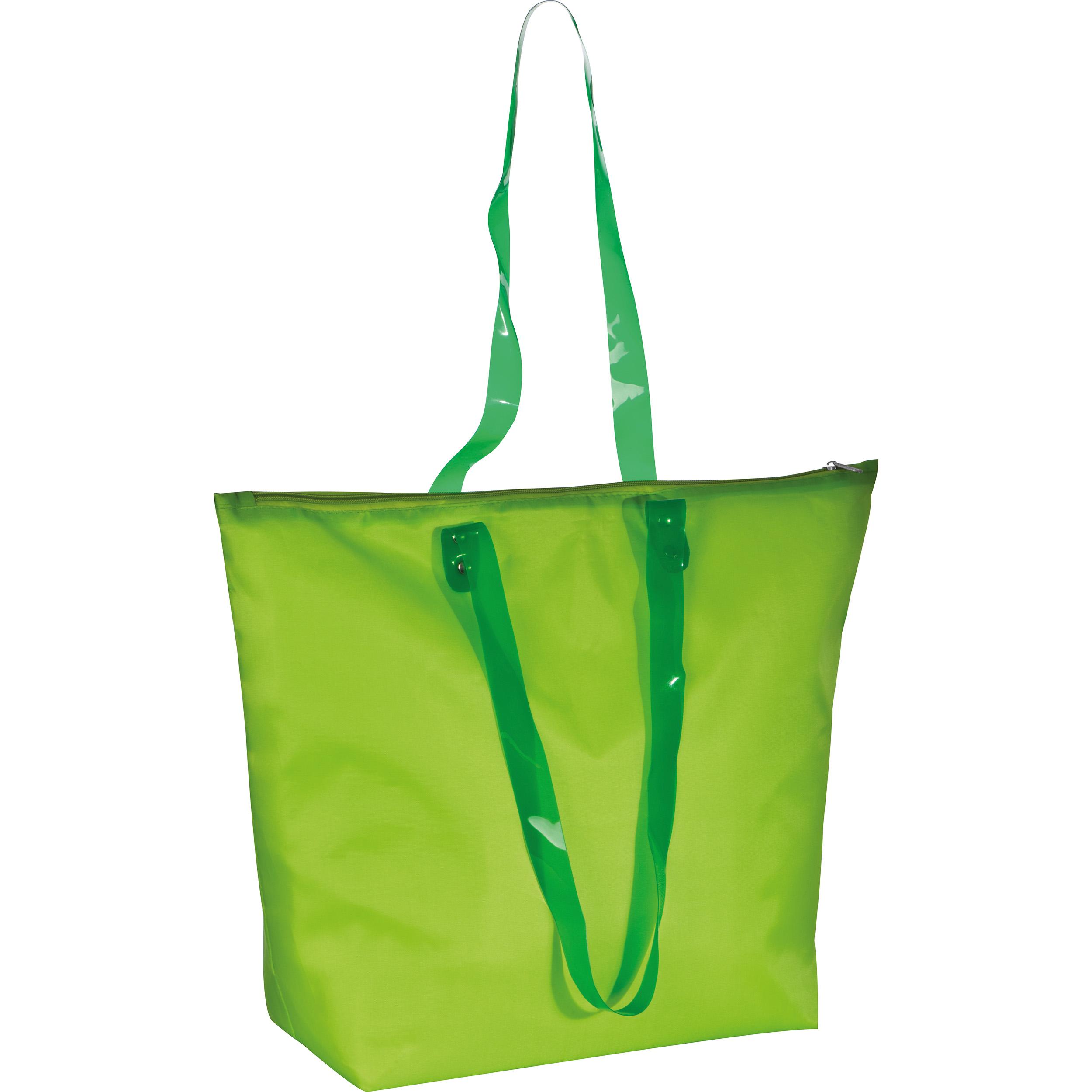 Beach bag with transparent handles