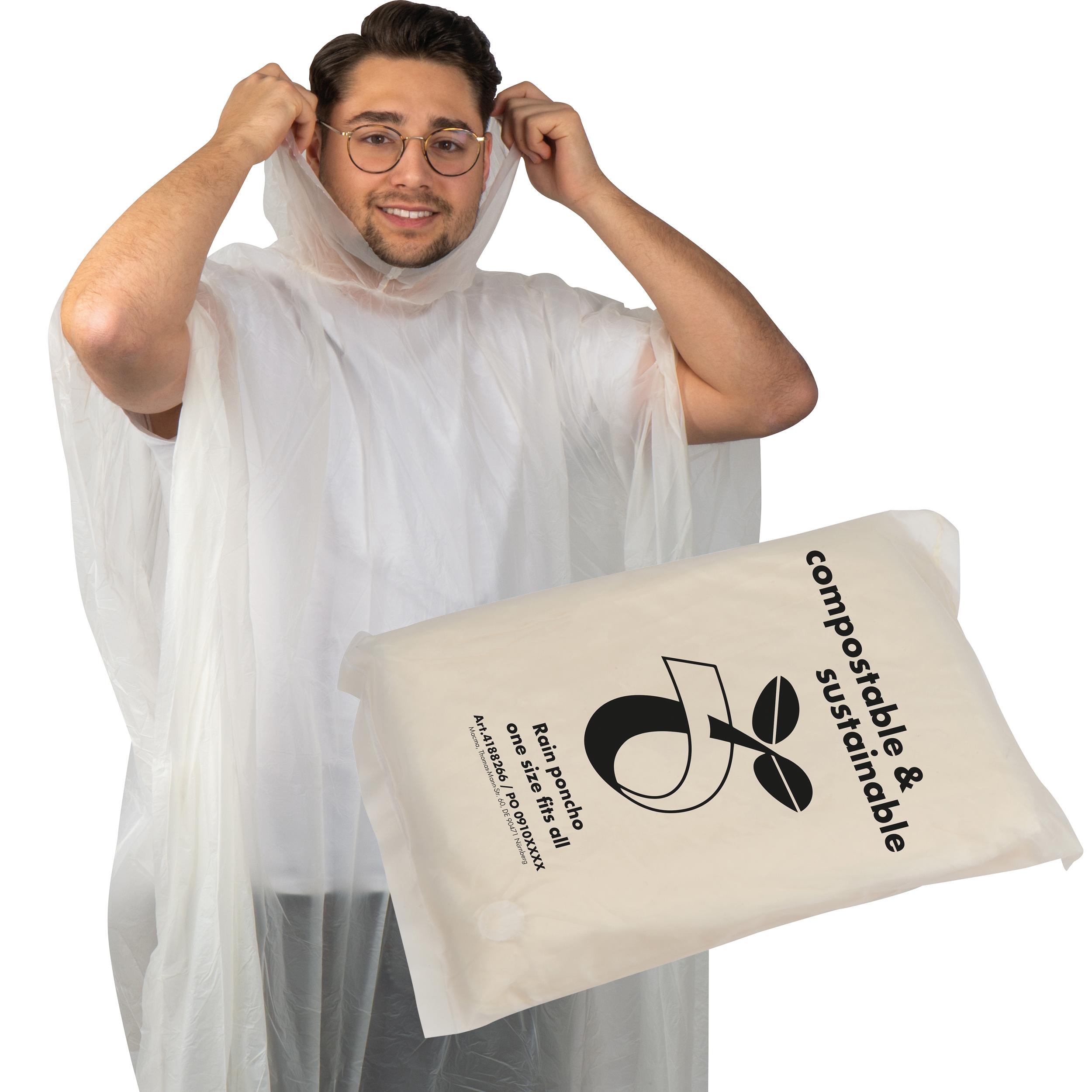 Regenponcho aus PLA in einer Tragetasche - kompostierbar