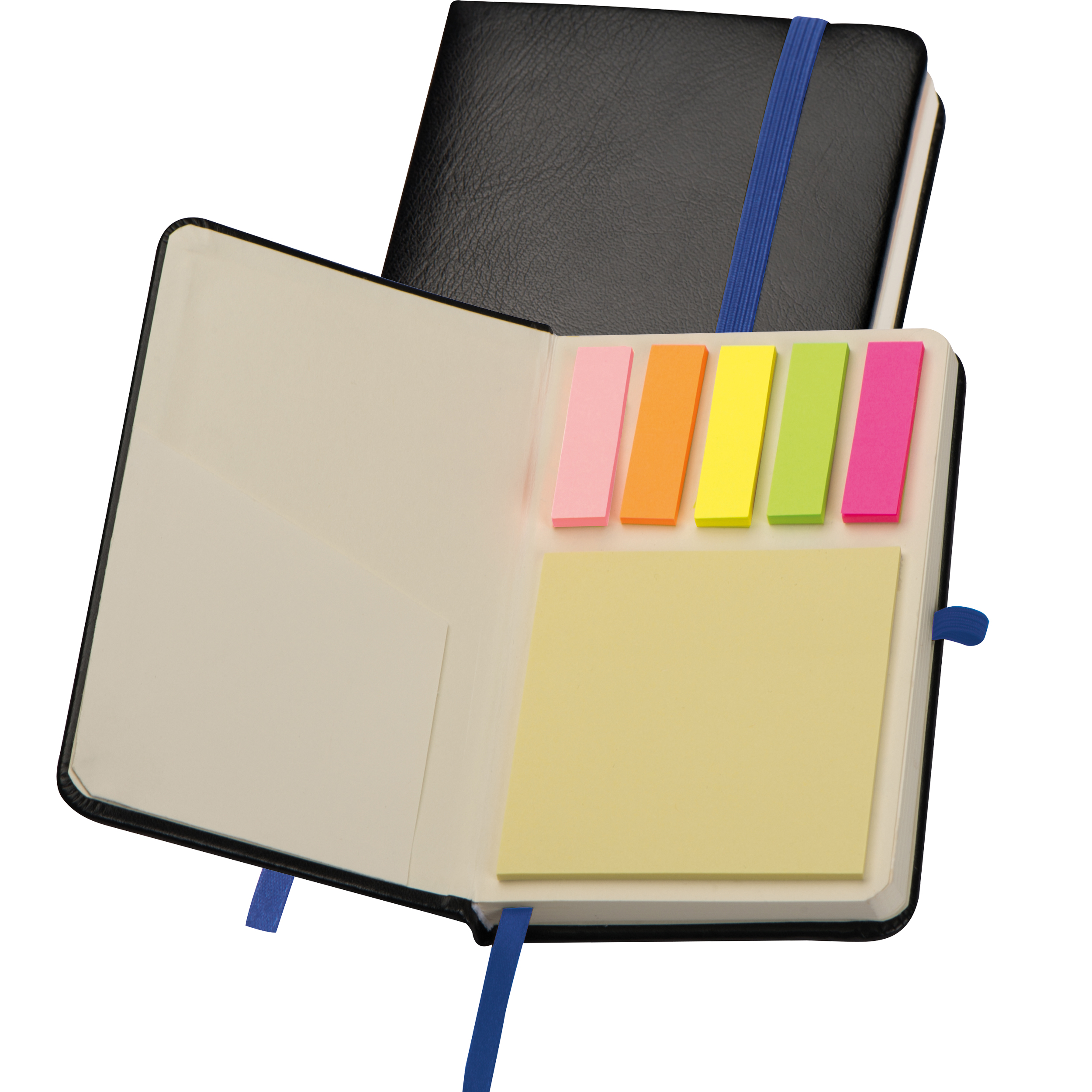 A6 notebook with sticky notes
