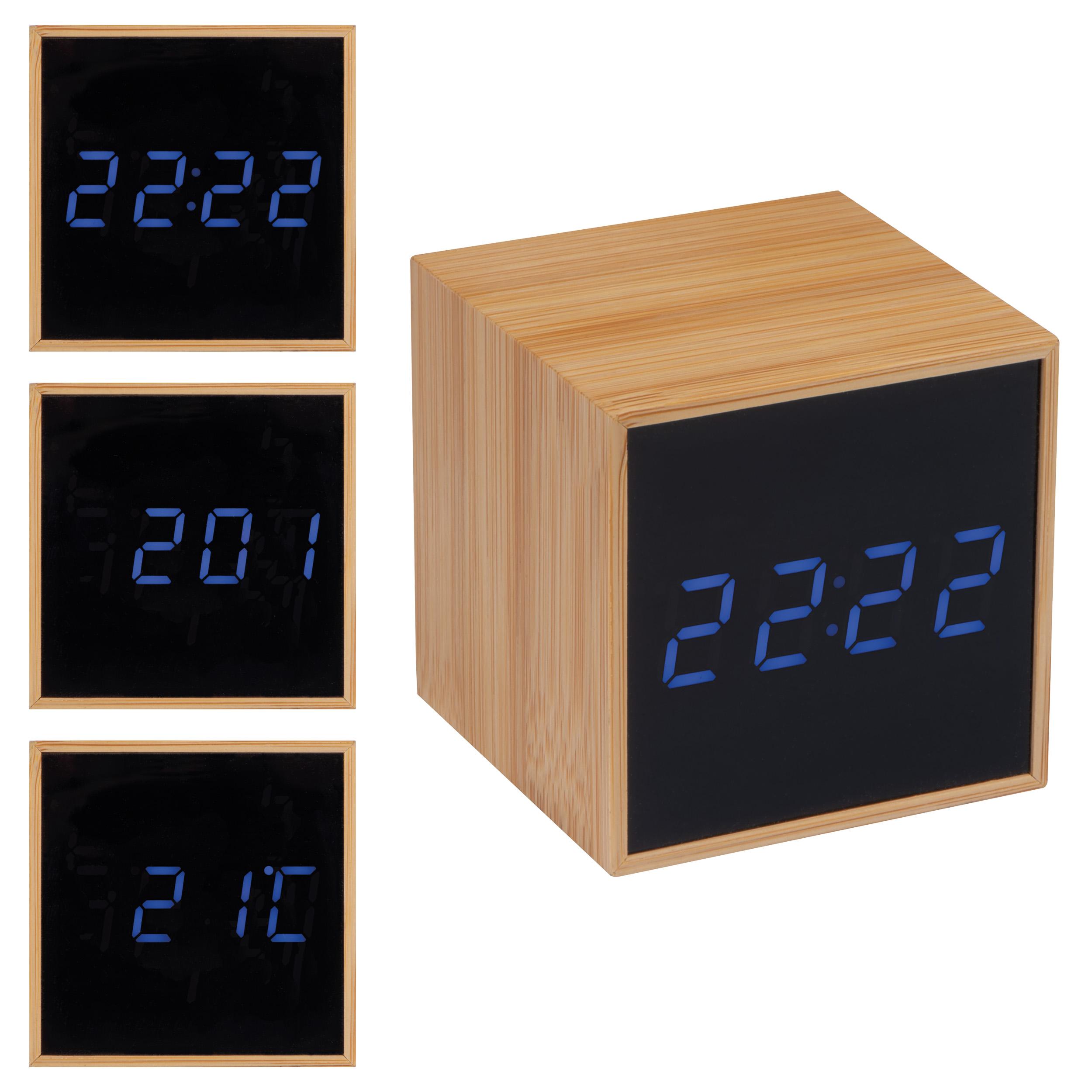 Horloge de table avec affichage noir et affichage LED bleu