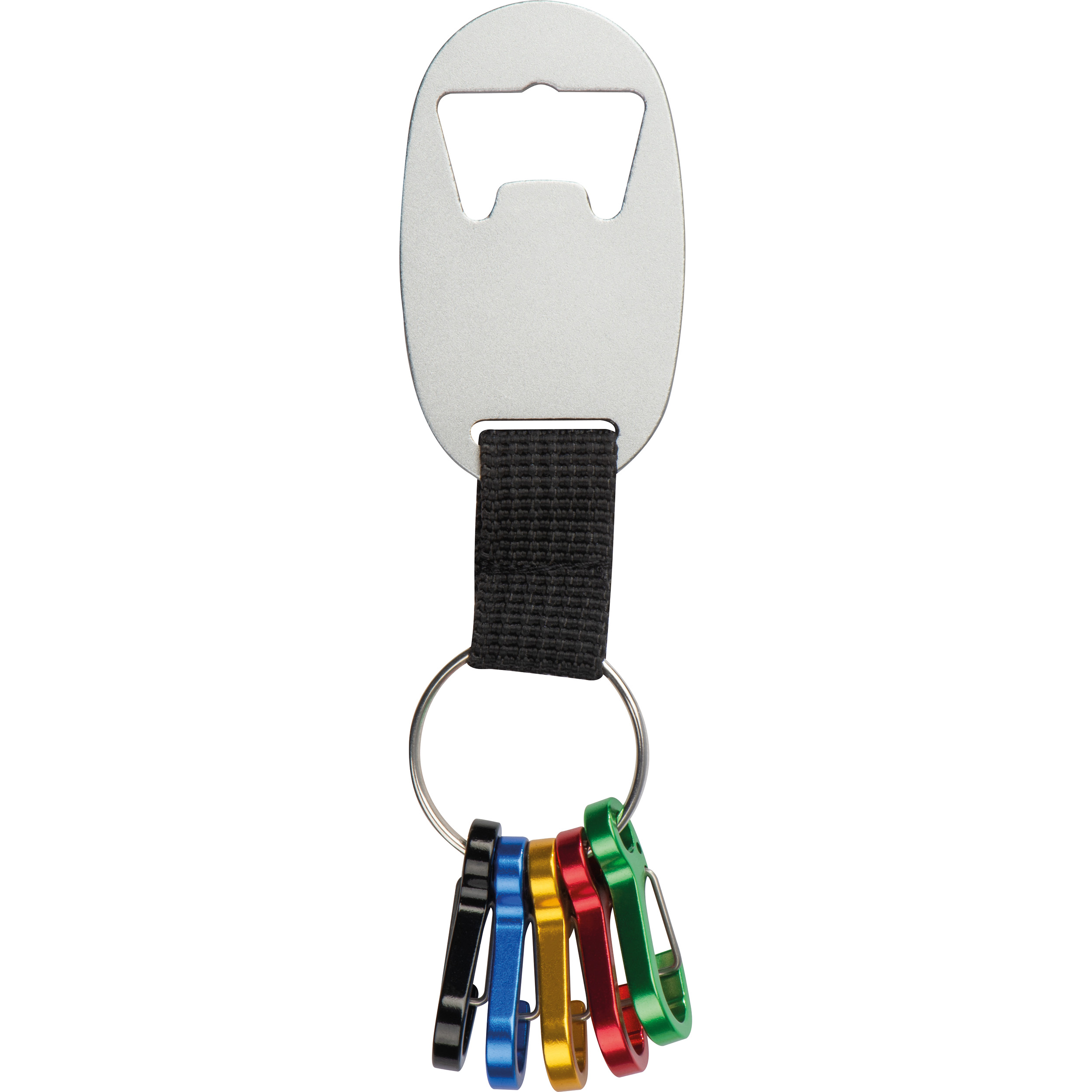 Keychain with bottle opener and 5 mini snap hooks