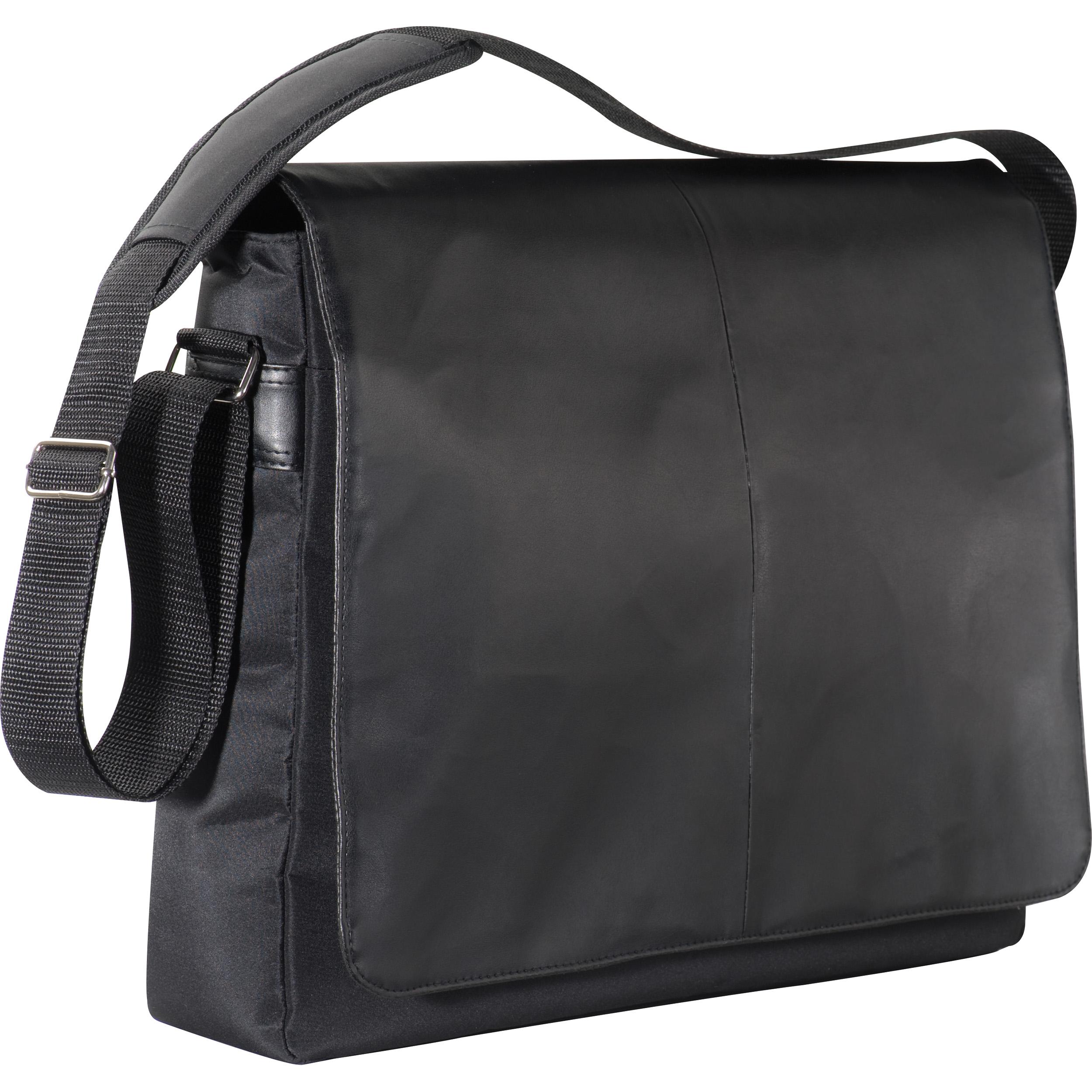 Black laptop bag with PVC flap