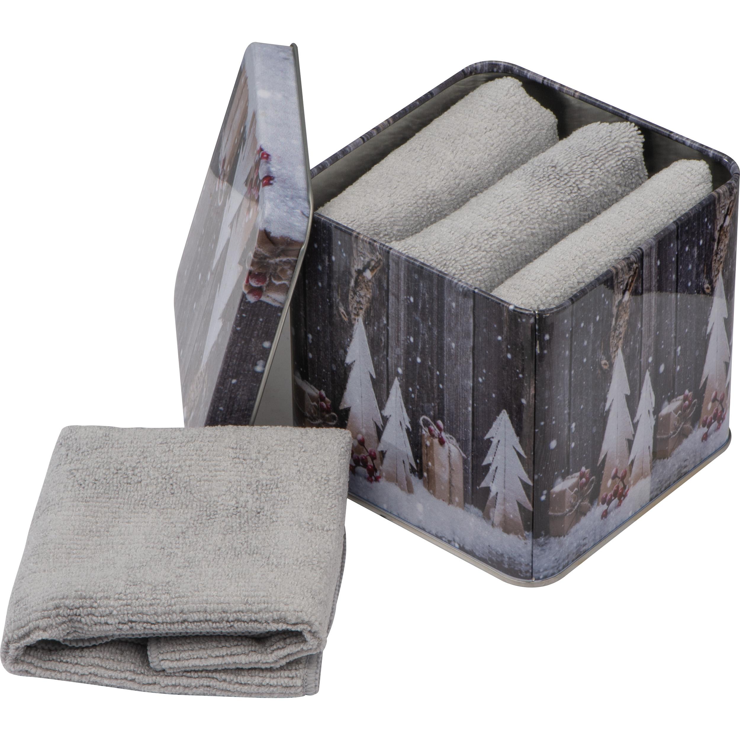 Handtücher aus Mikrofaser in einer Metallbox