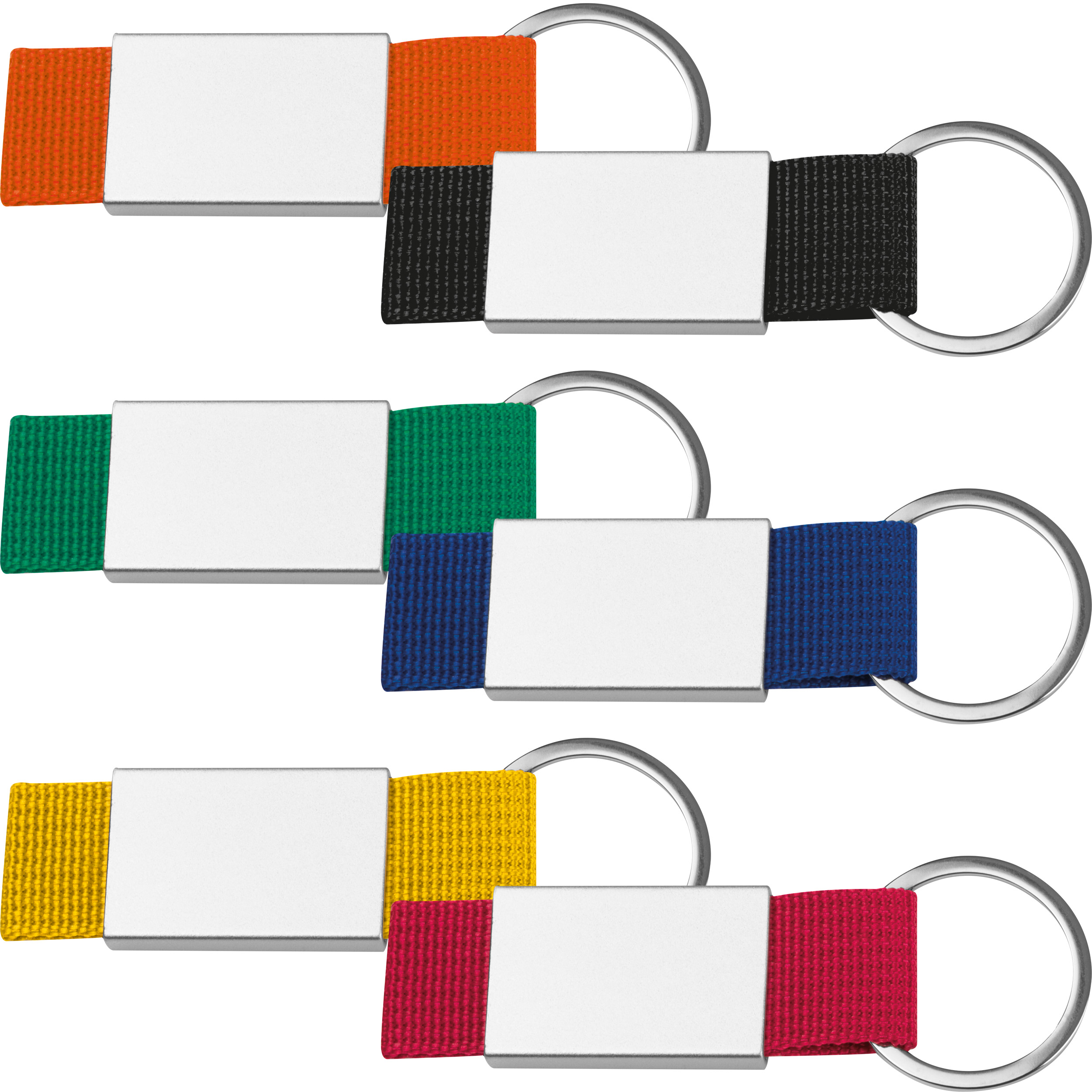 Schlüsselanhänger mit farbigem Stoffbändchen