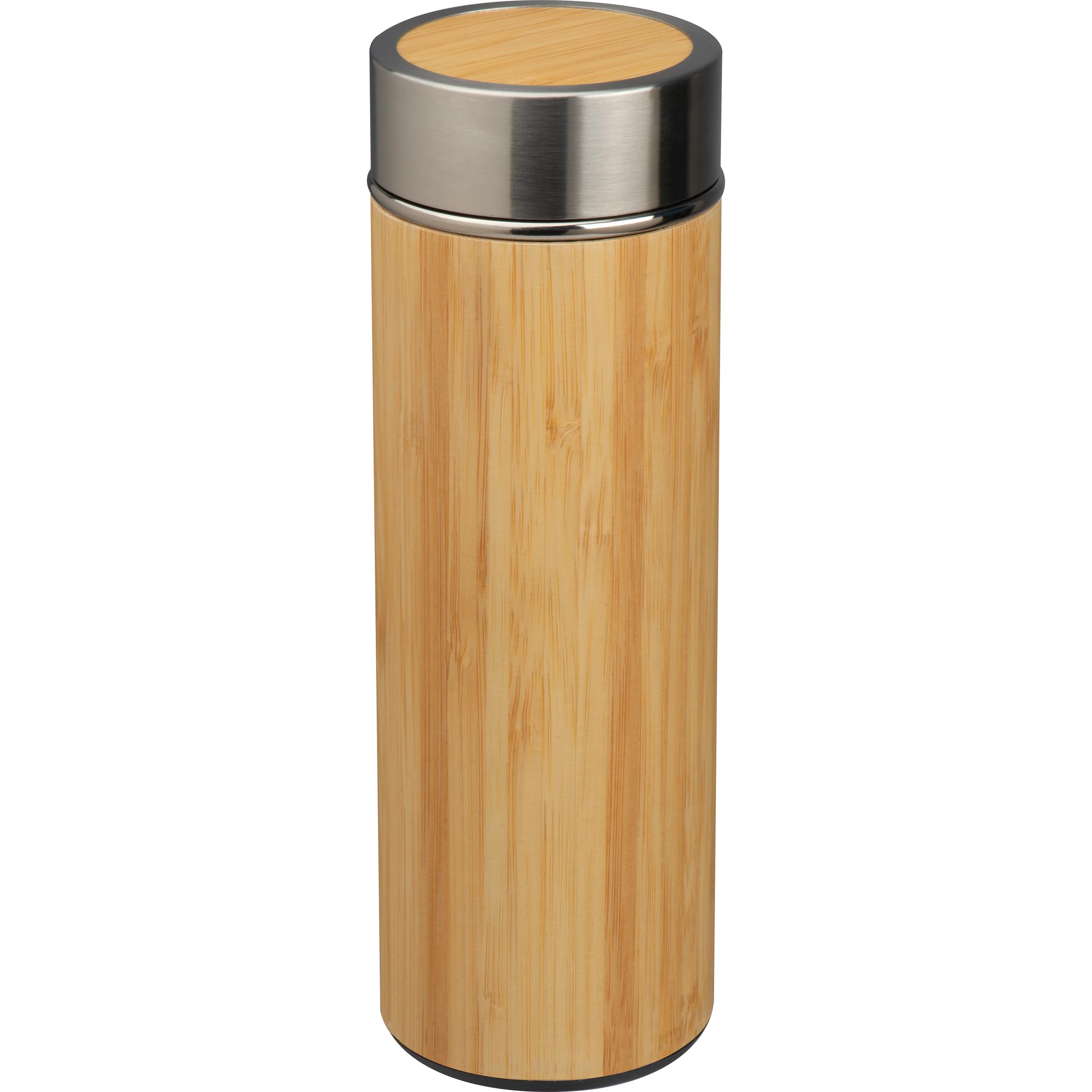 Tasse en acier inoxydable avec passoire à thé en bambou 350ml