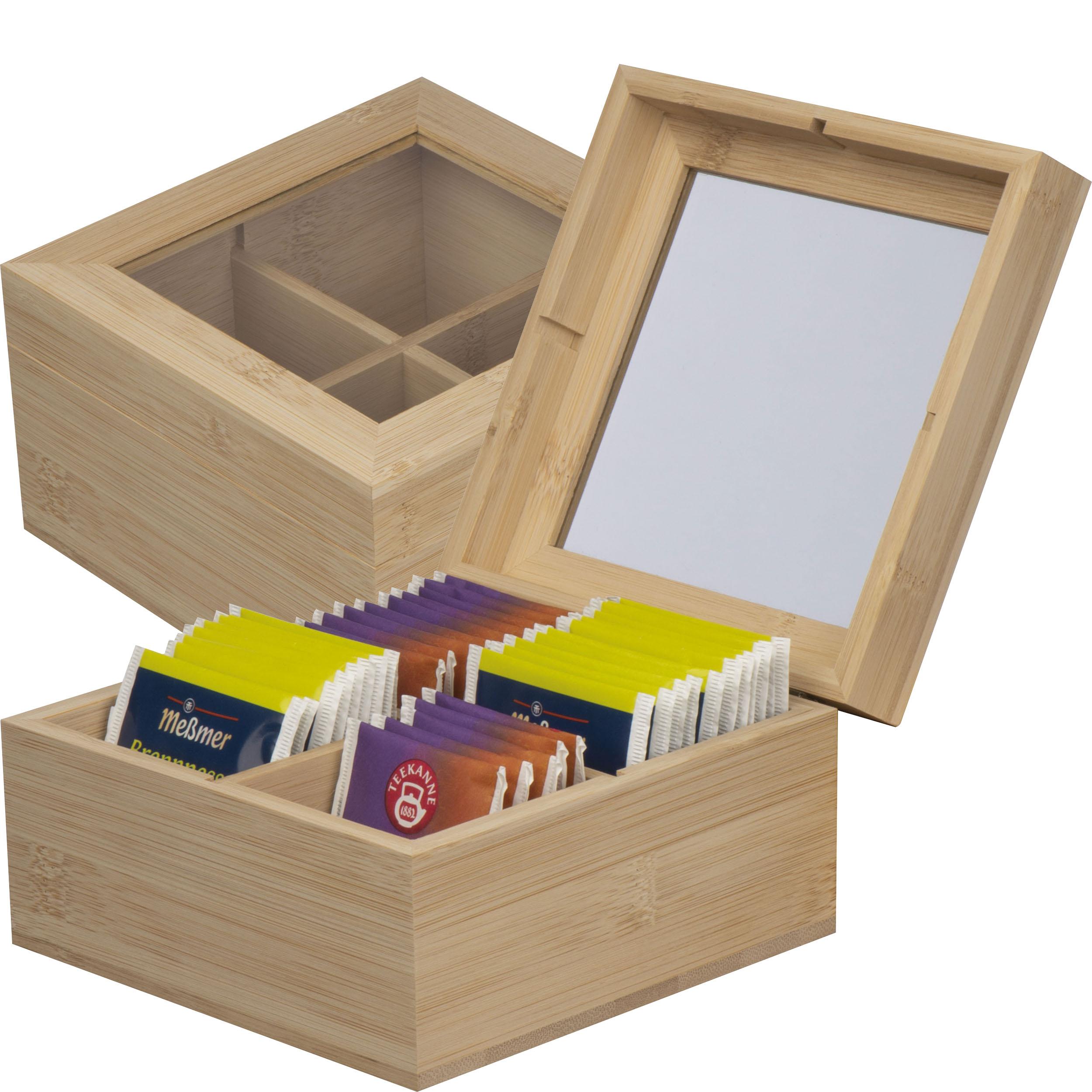 Teeaufbewahrungsbox aus Bambus mit Glasdeckel für 40 Teebeutel