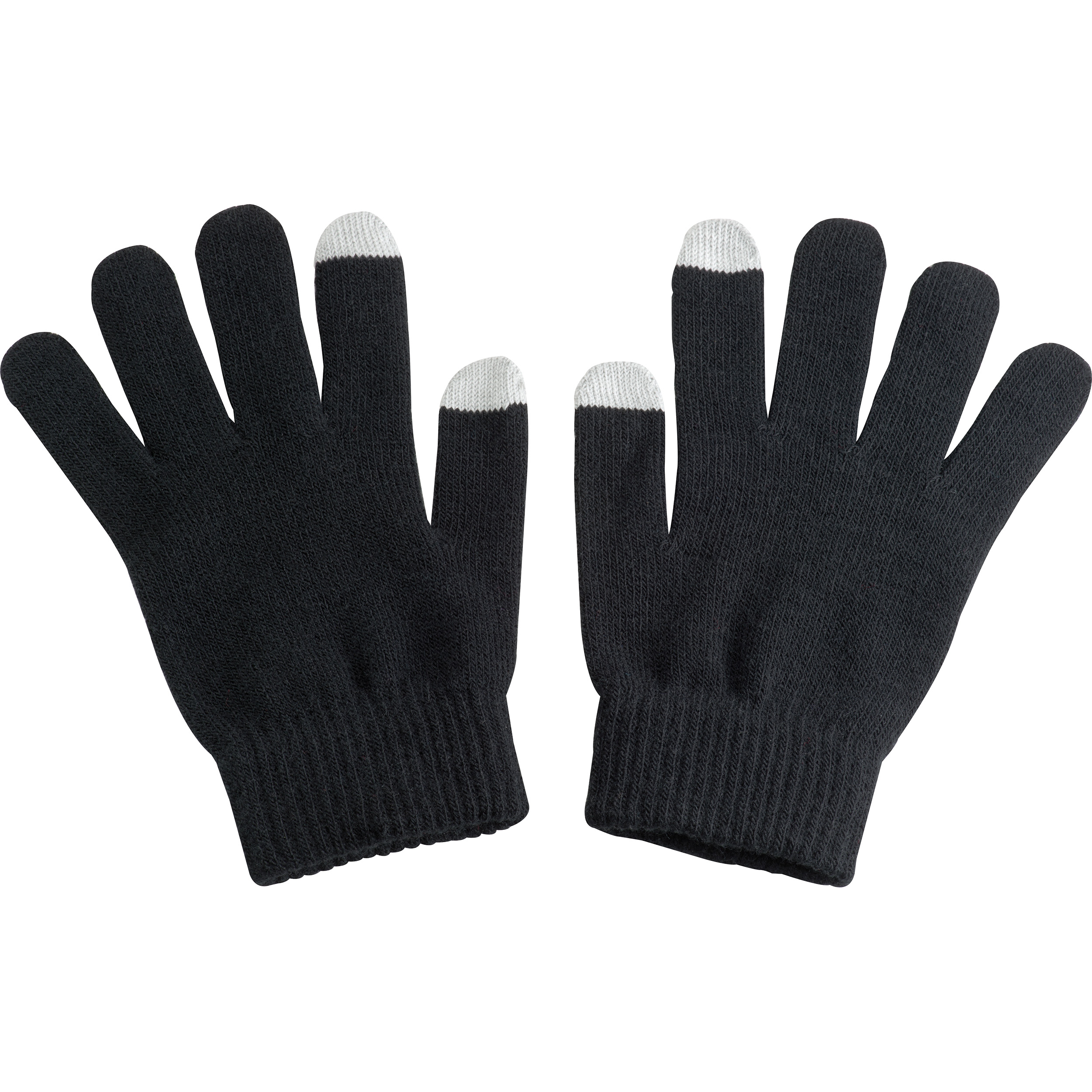 Acrylic gloves with touch tops on two fingers