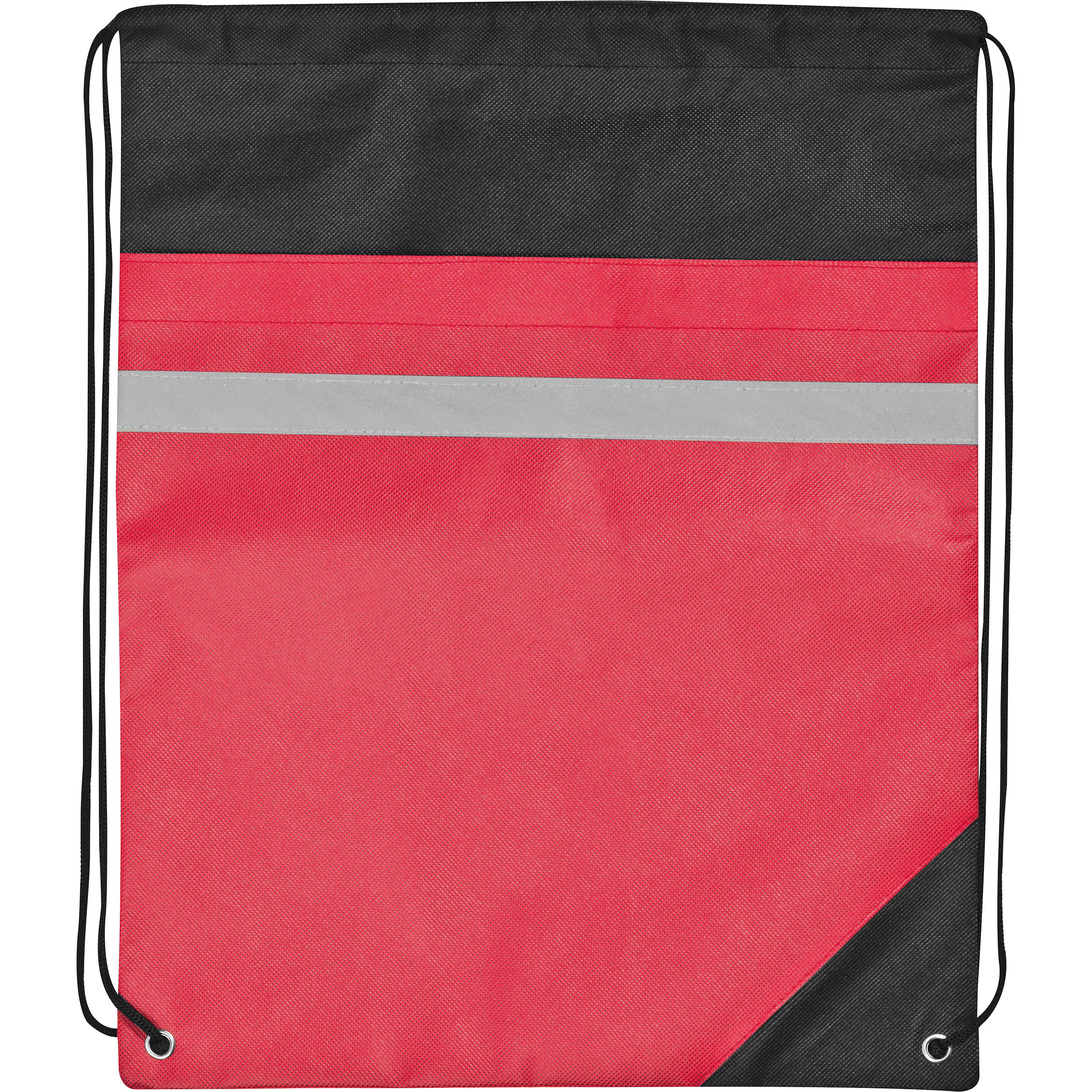 Non-woven gym bag including reflectable stripe