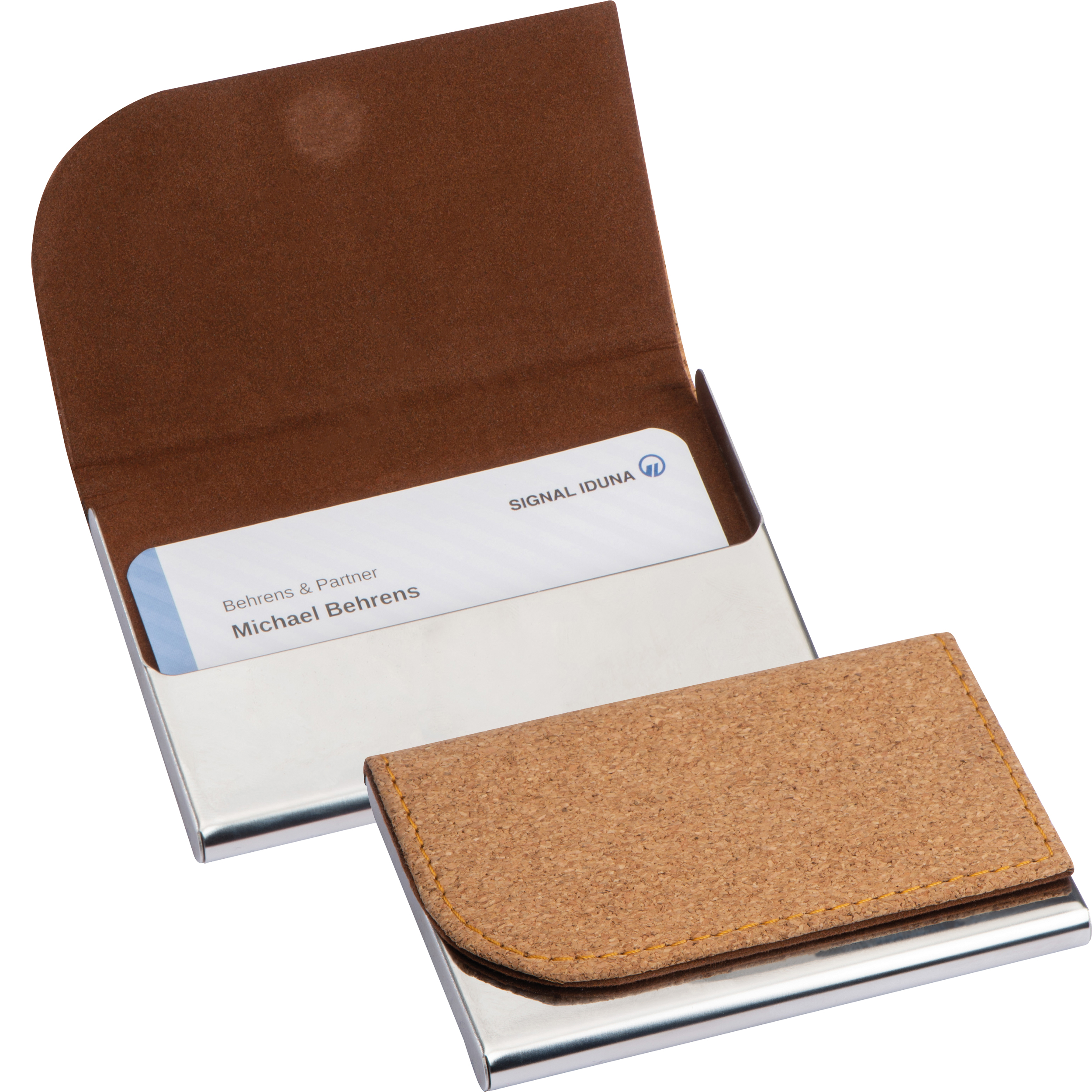Metal Business Card Holder with cork Surface