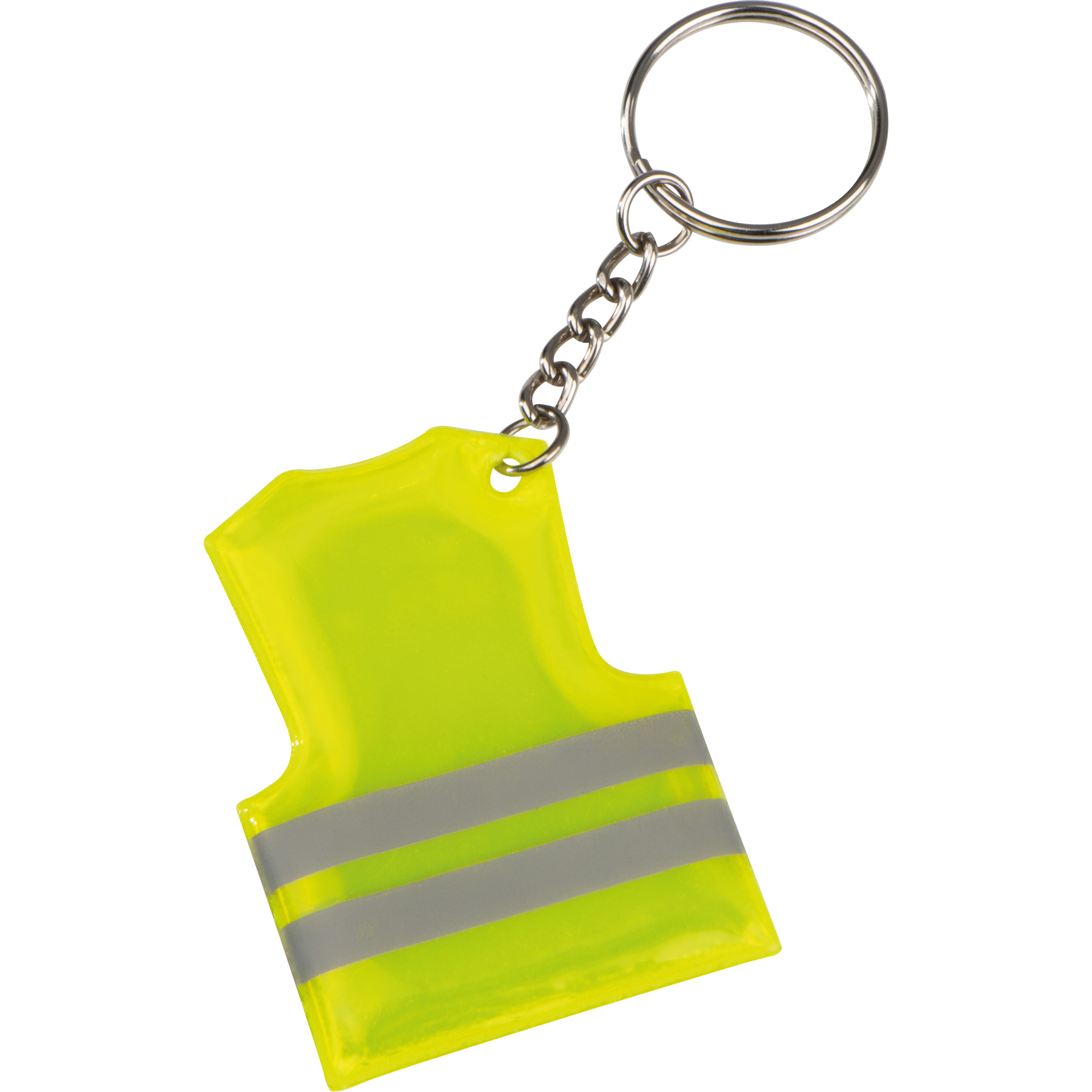 Key fob in the shape of a safety vest