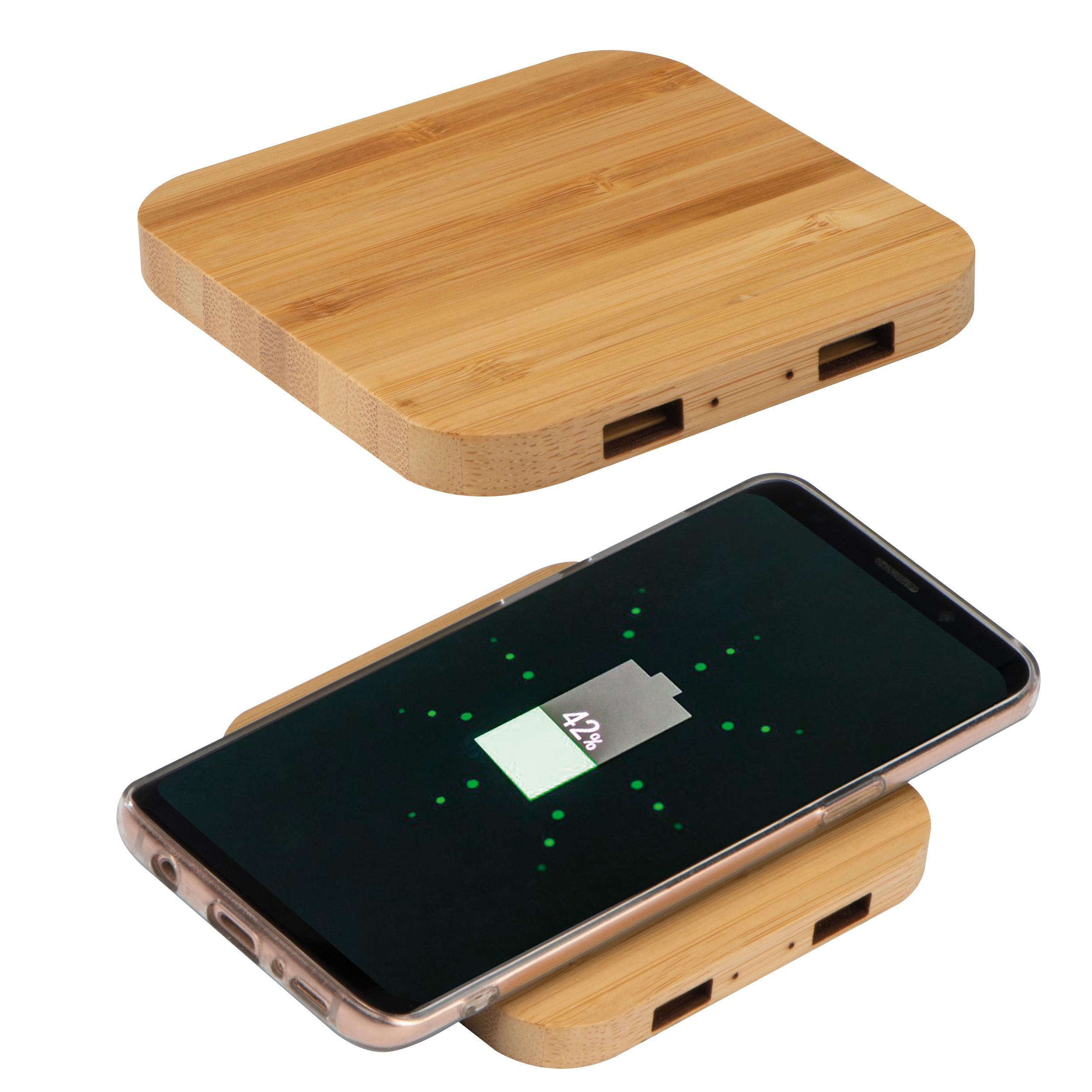 Chargeur sans fil en bambou avec 2 Hubs USB