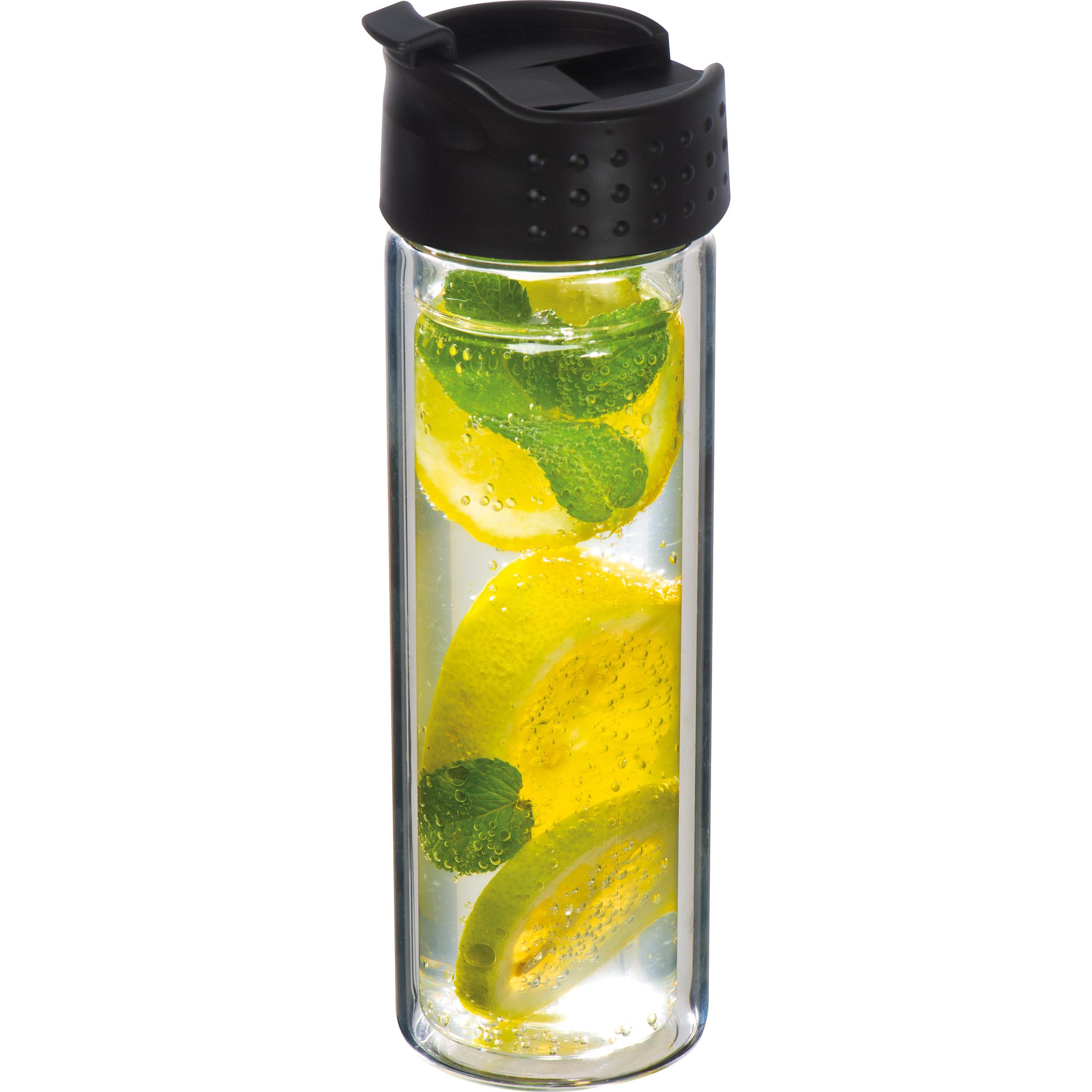 Doppelwandige Vakuum-Glasflasche mit Siebeinsatz, 400 ml