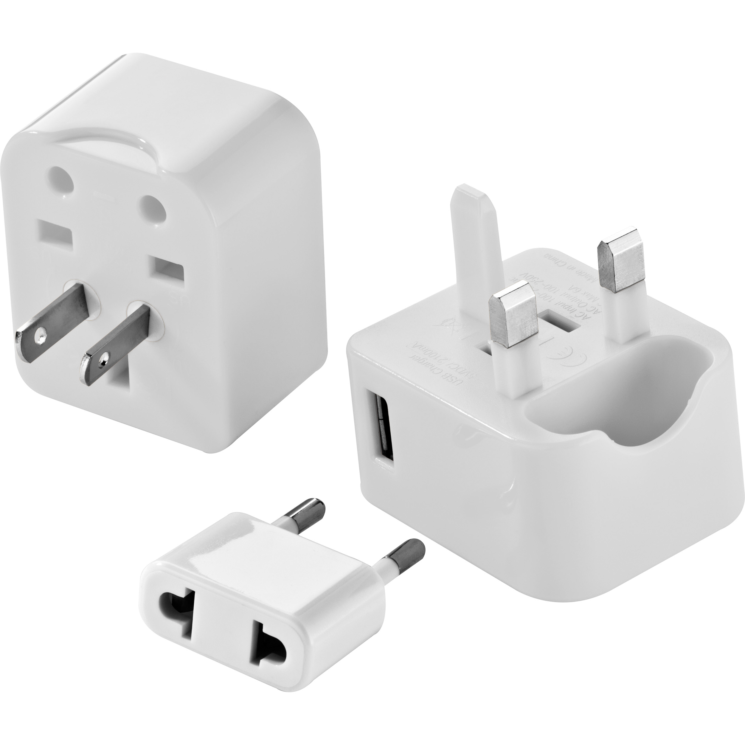 Reiseadapter im Etui mit Adaptern für US, UK, AUS, Asien und EU und einem USB-Anschluss