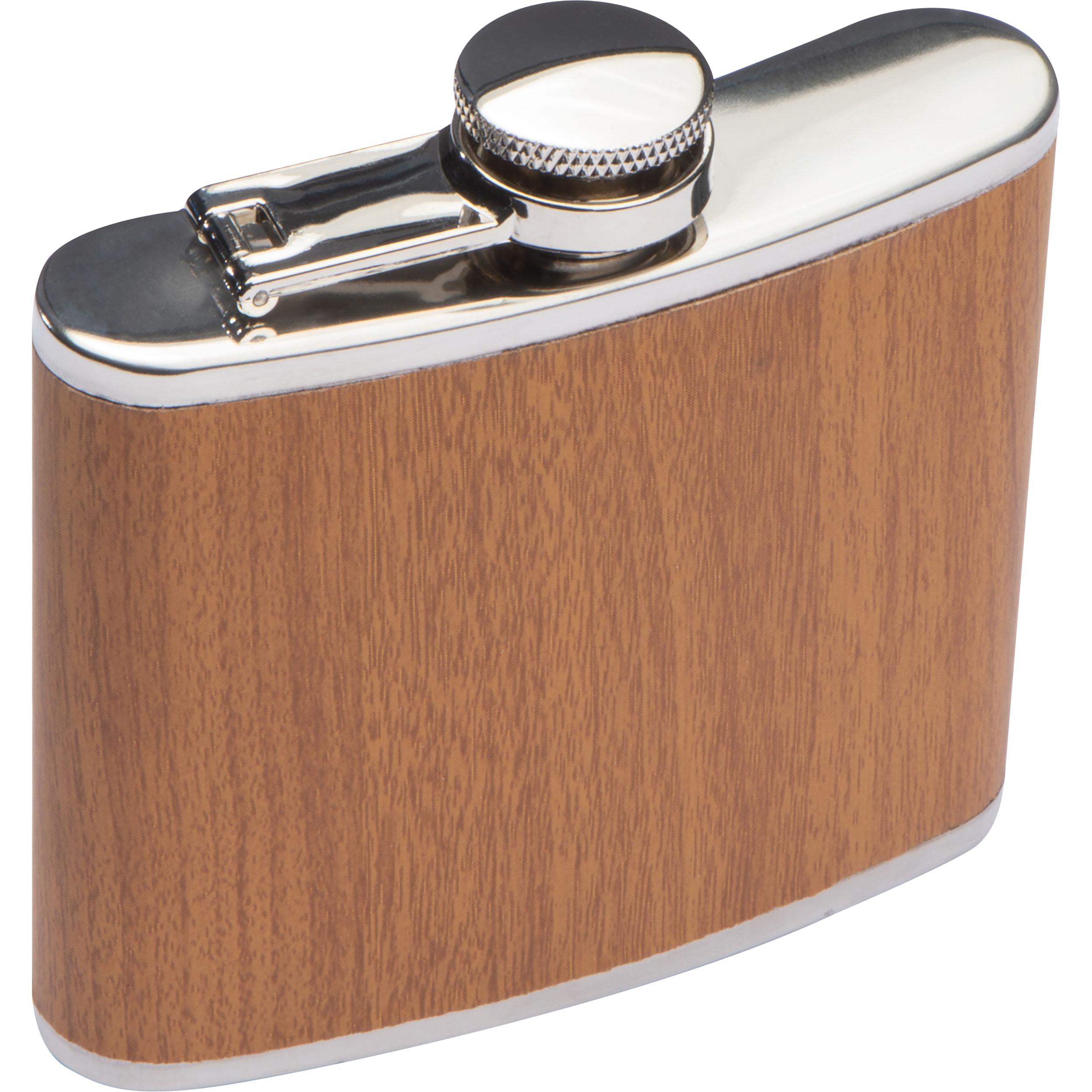 Flacon à hanche en acier inoxydable avec étui en bois, capacité de remplissage 170 ml
