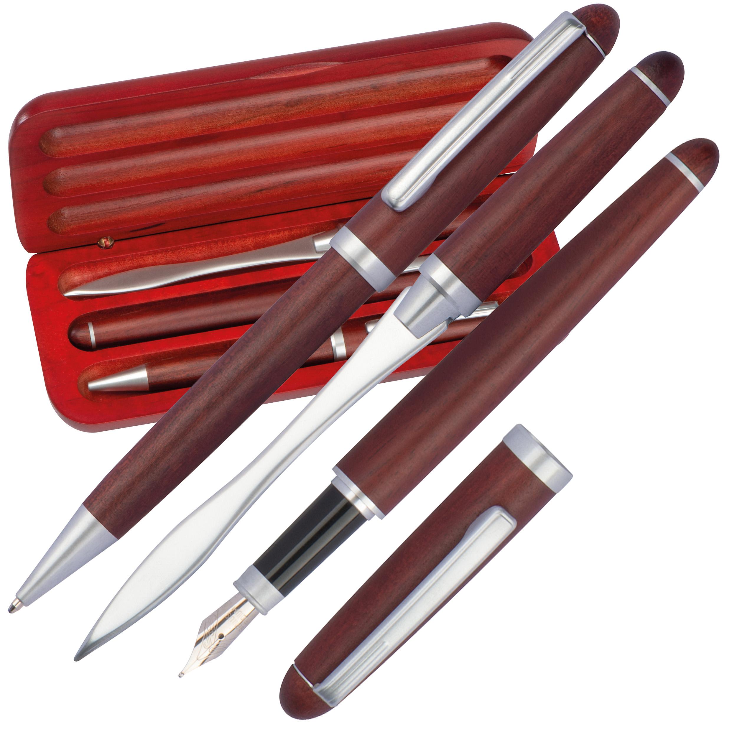 Set stylo à bille, stylo à encre et coupe-papier