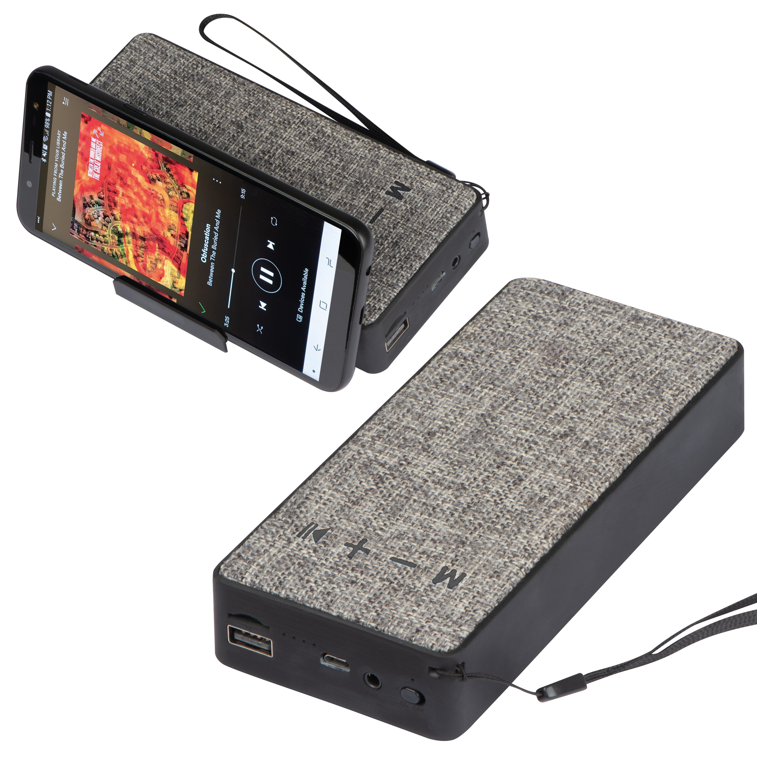 8.000 mAh power bank with speaker and phone holder