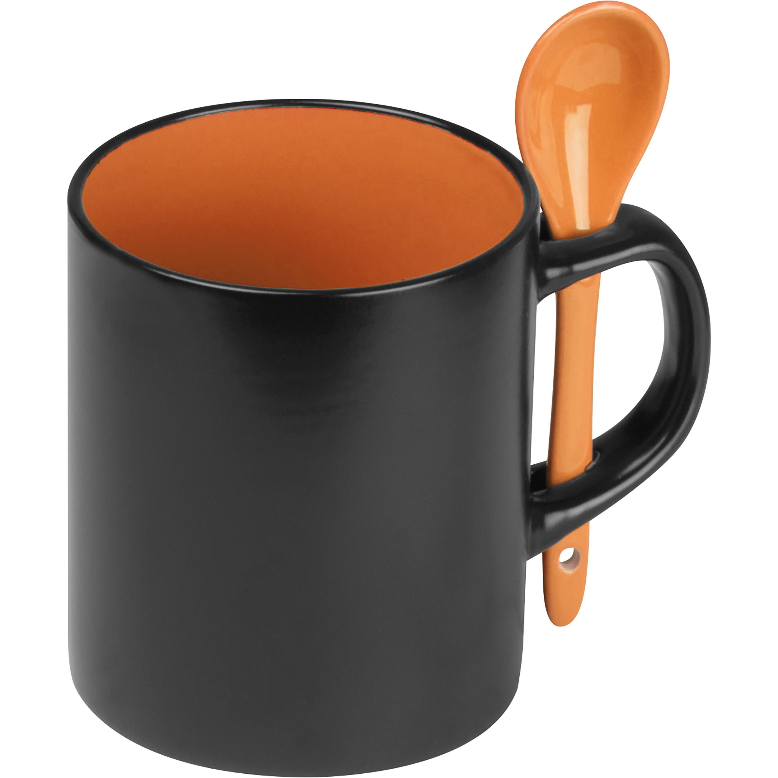 Mug en porcelaine avec cuillère correspondante