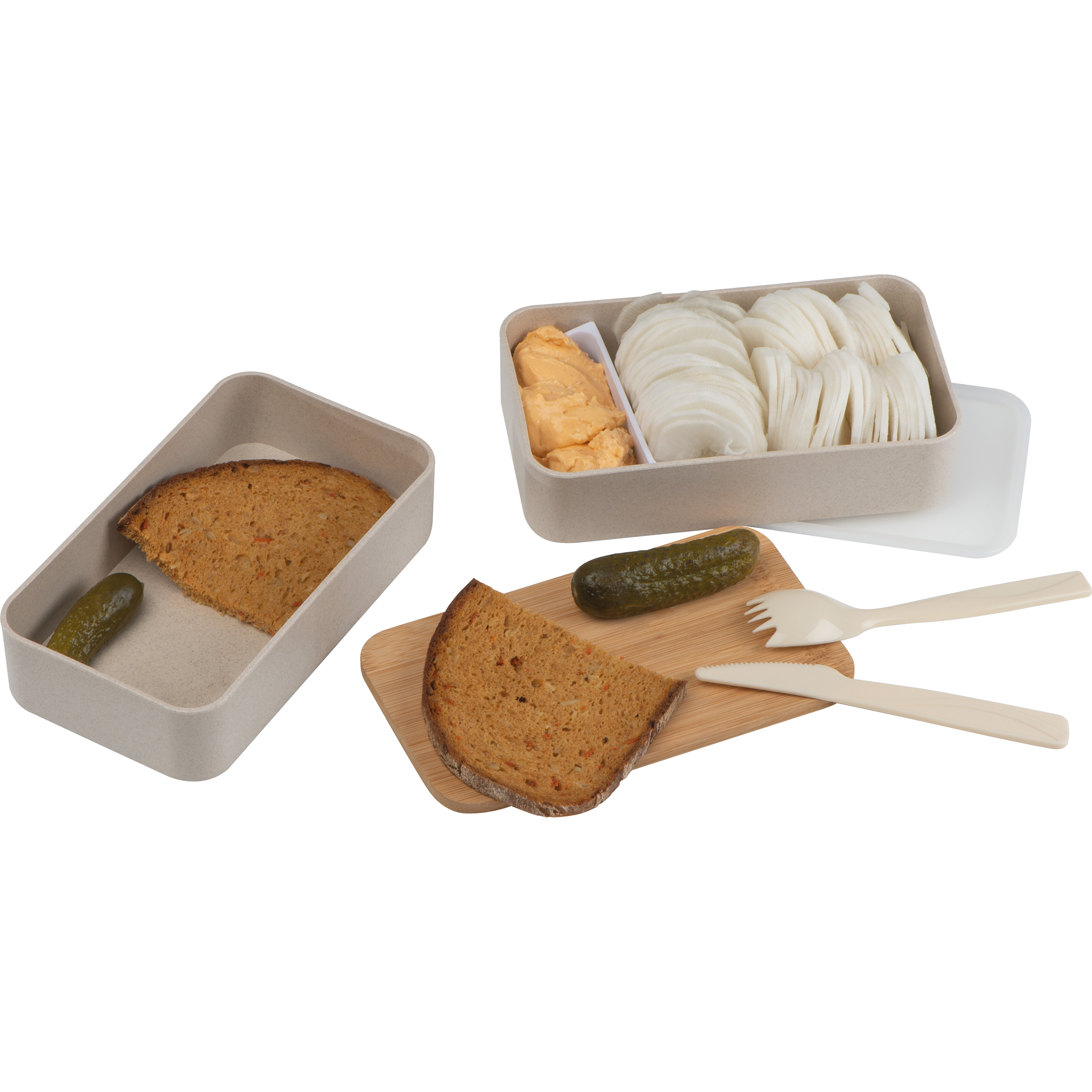 2-storey lunch box with cutlery and clasp