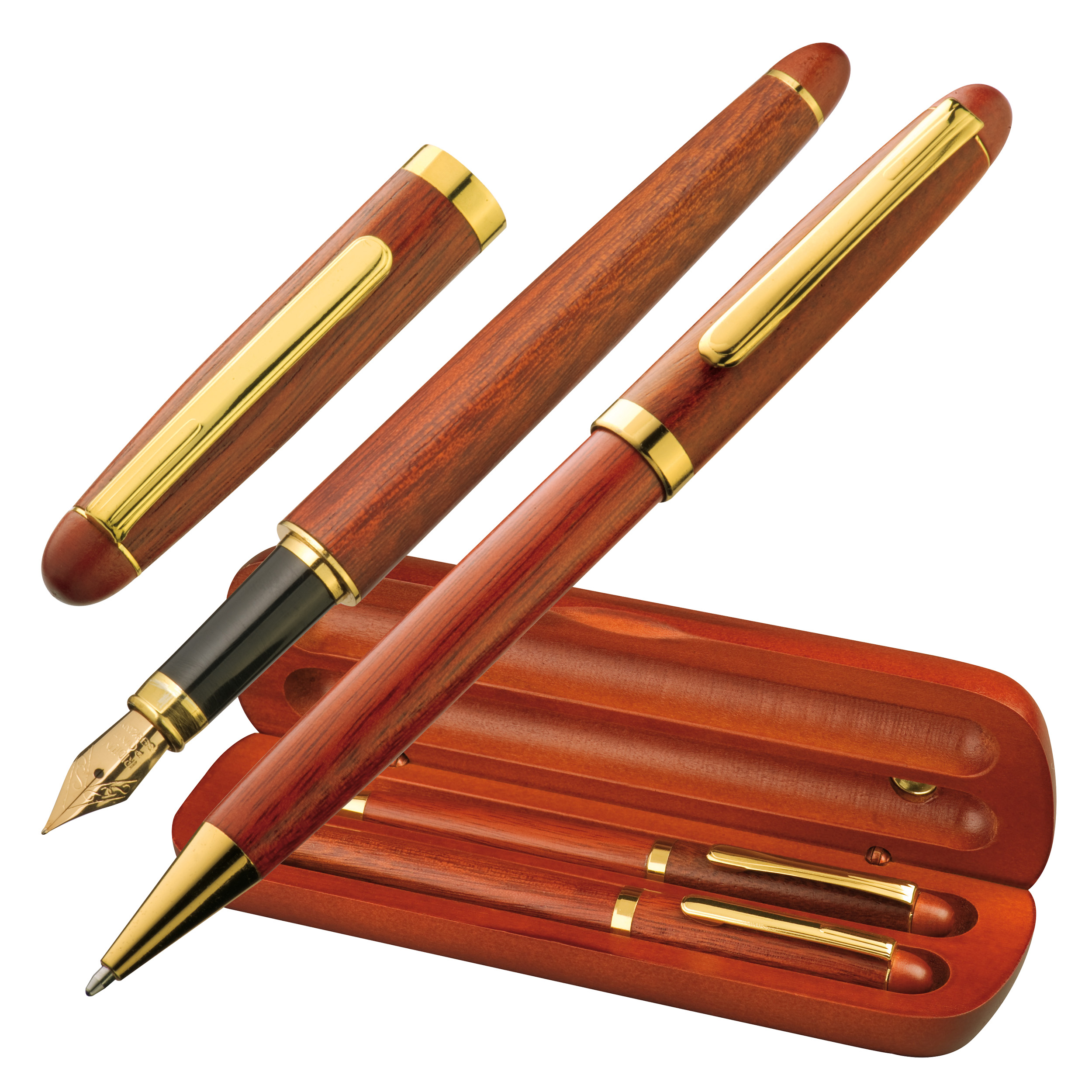 Rosewood pen set in case