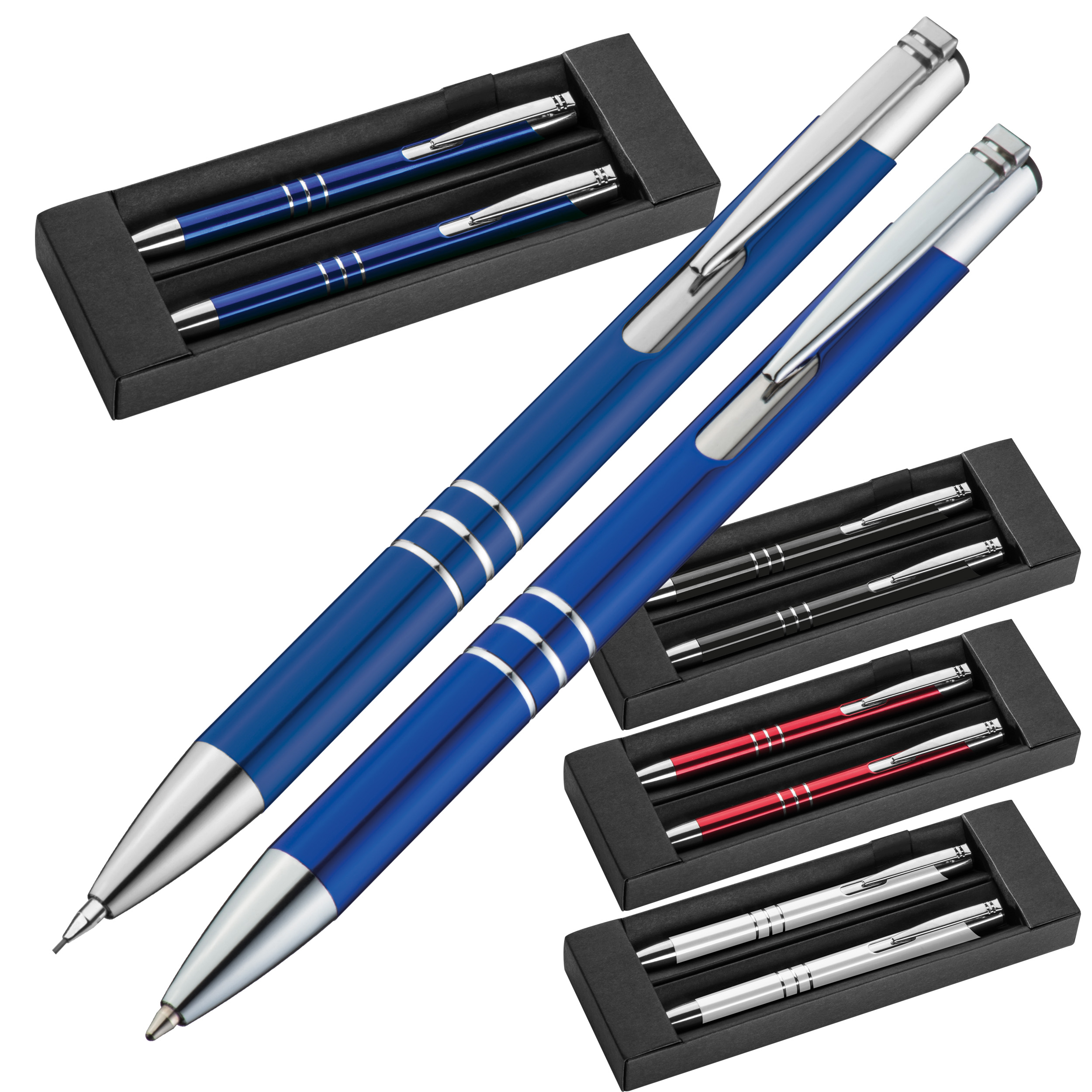 Schreibset mit Kugelschreiber und Druckbleistift aus Metall