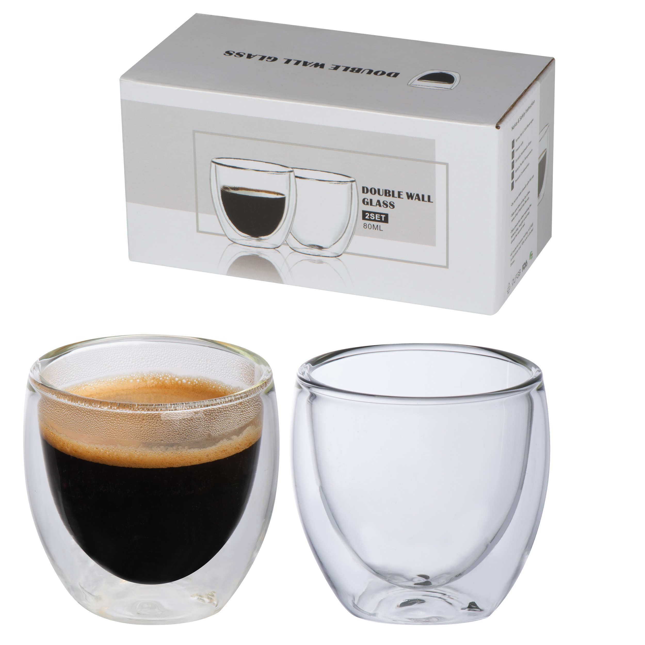 Set of 2 double-walled espresso cups