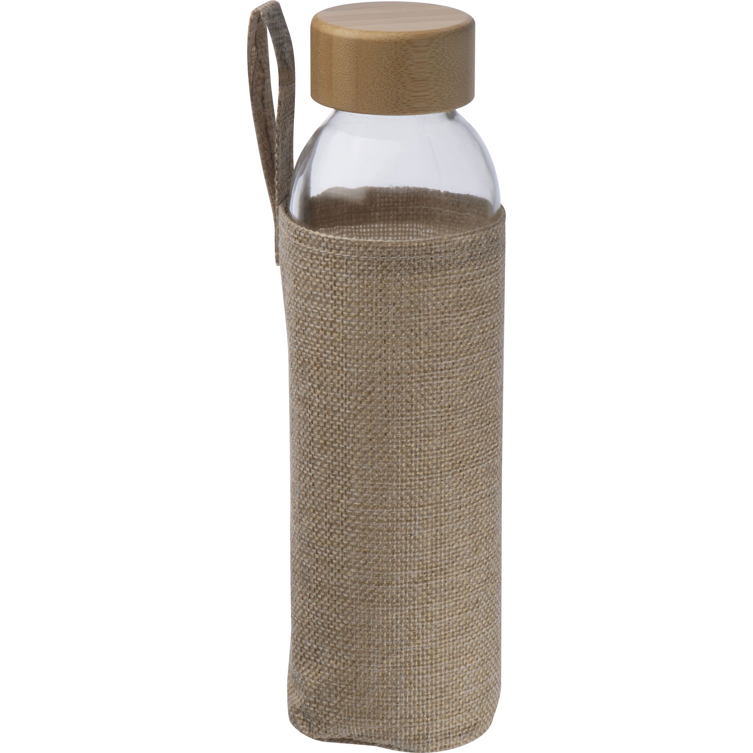 Glass Bottle with Bamboo Lid and Jute Cover
