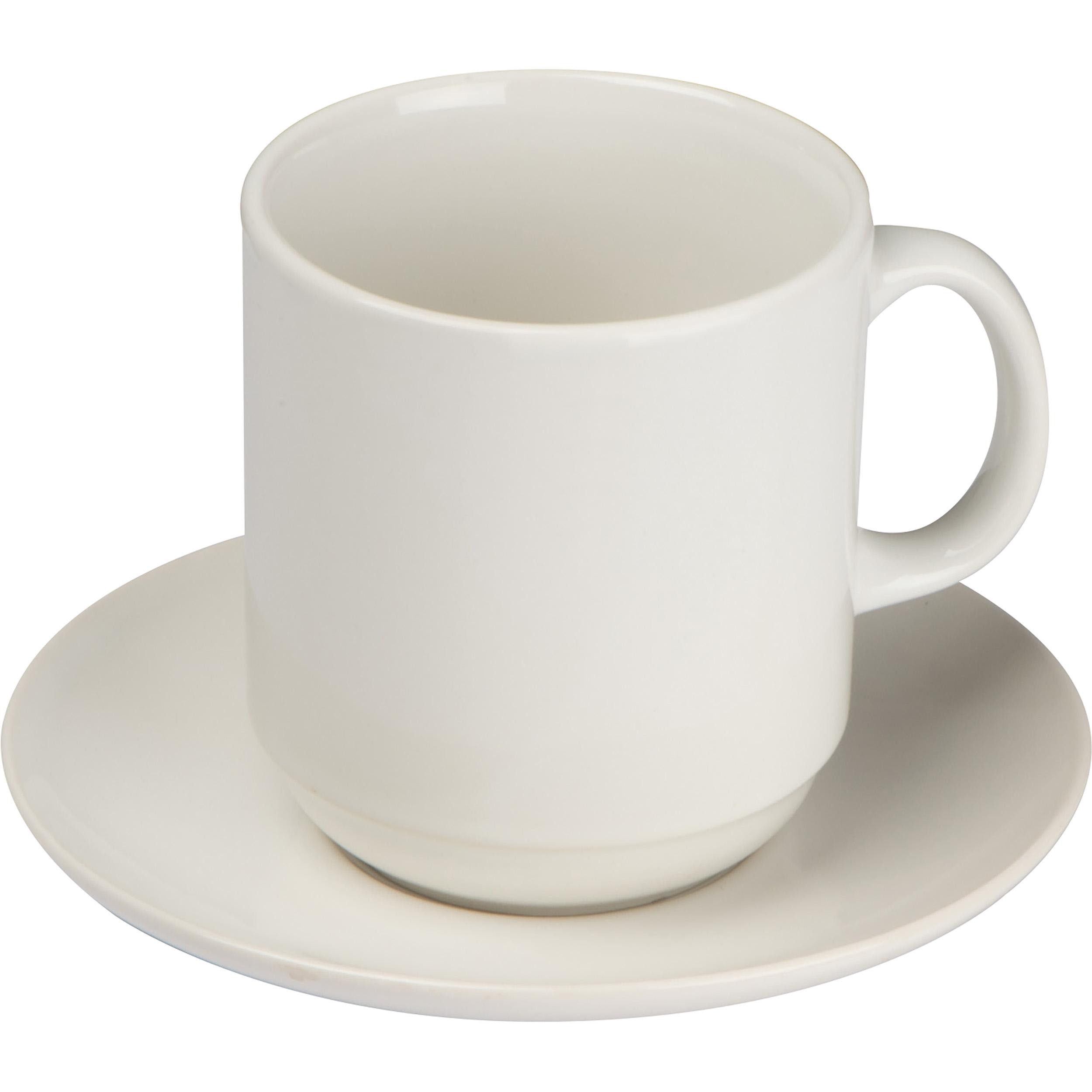 Set of white coffee mug and coaster