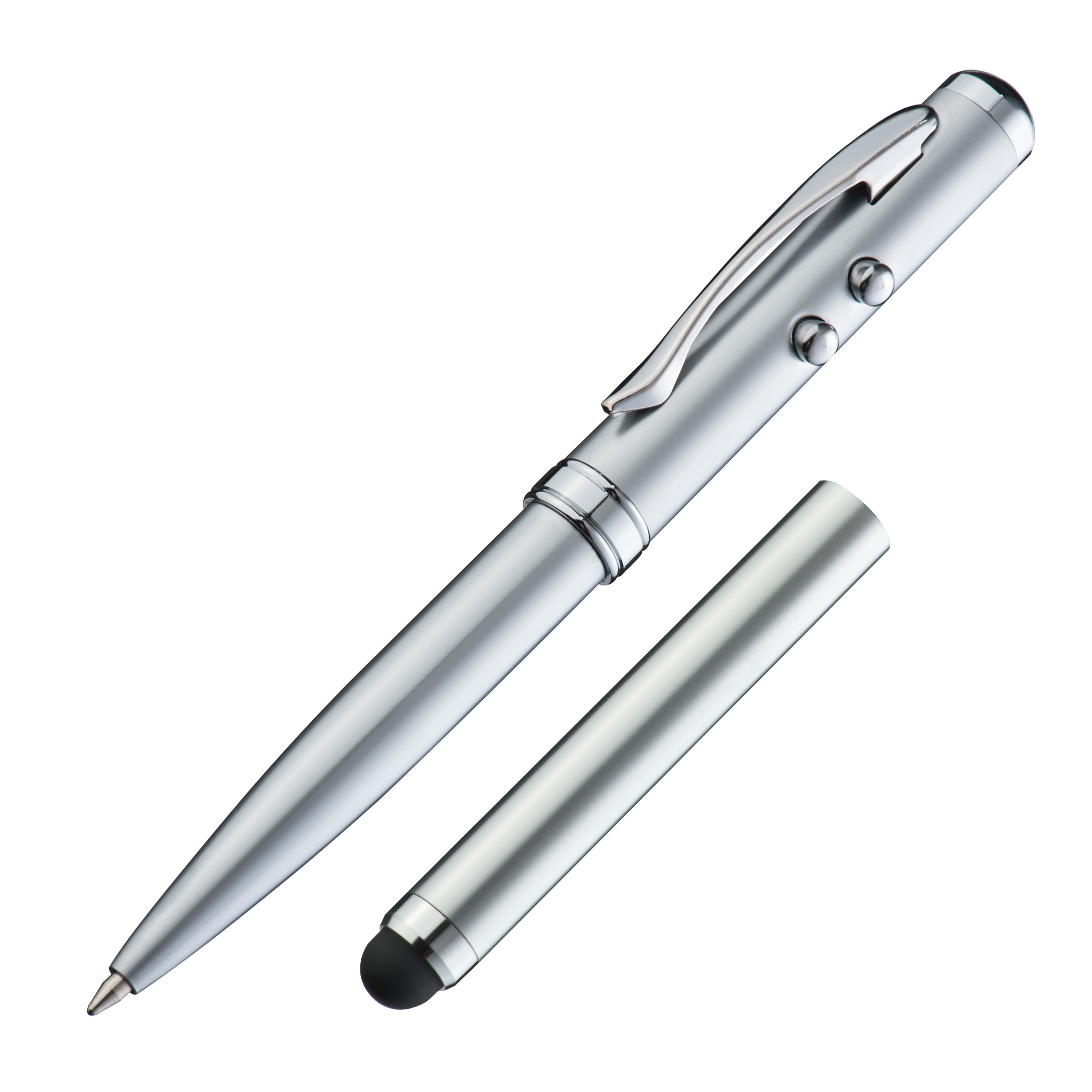 Laser pointer with LED, touch function and ball pen