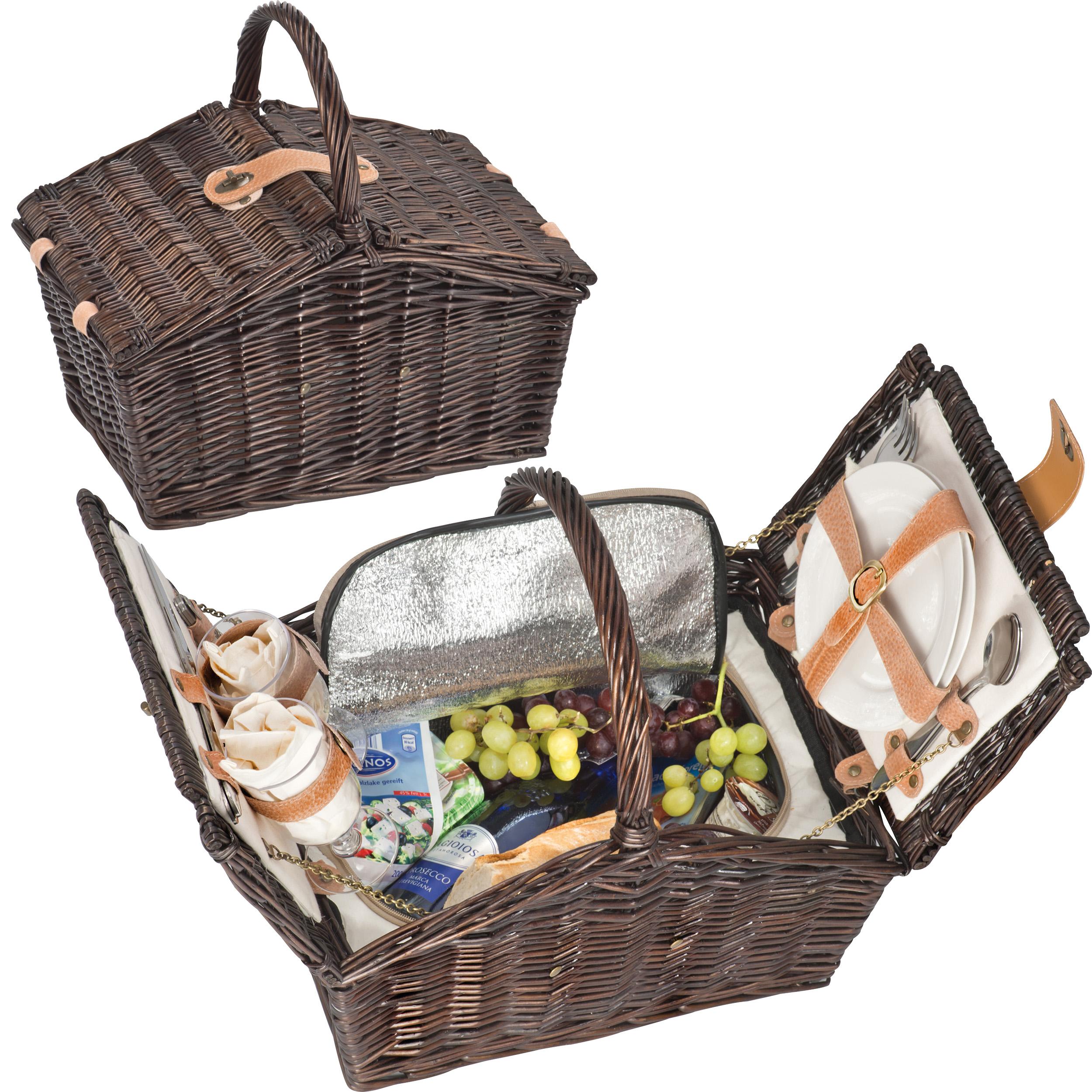 Picknickkoffer aus Weidengeflecht für 2 Personen