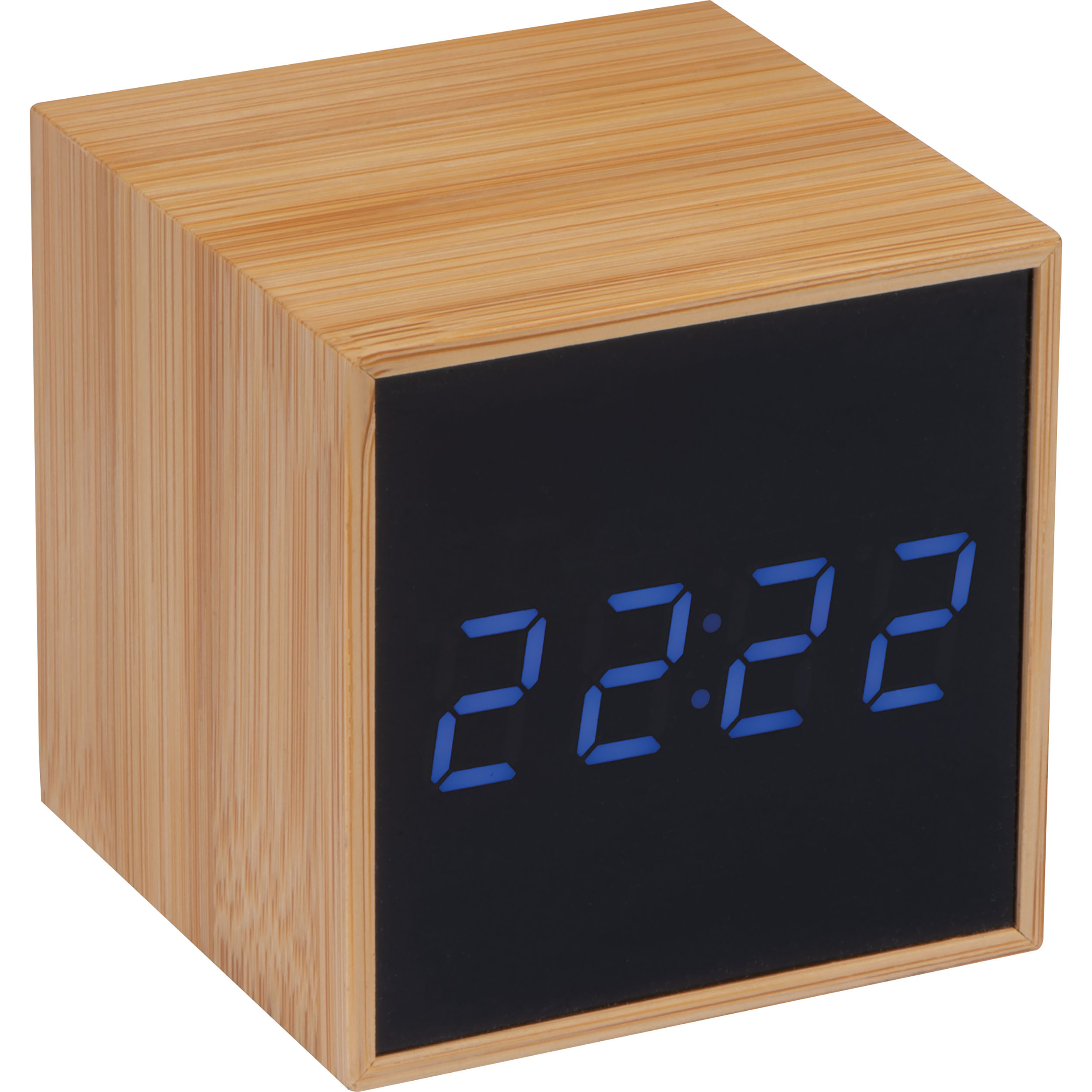 Desk clock with black display and blue LED display