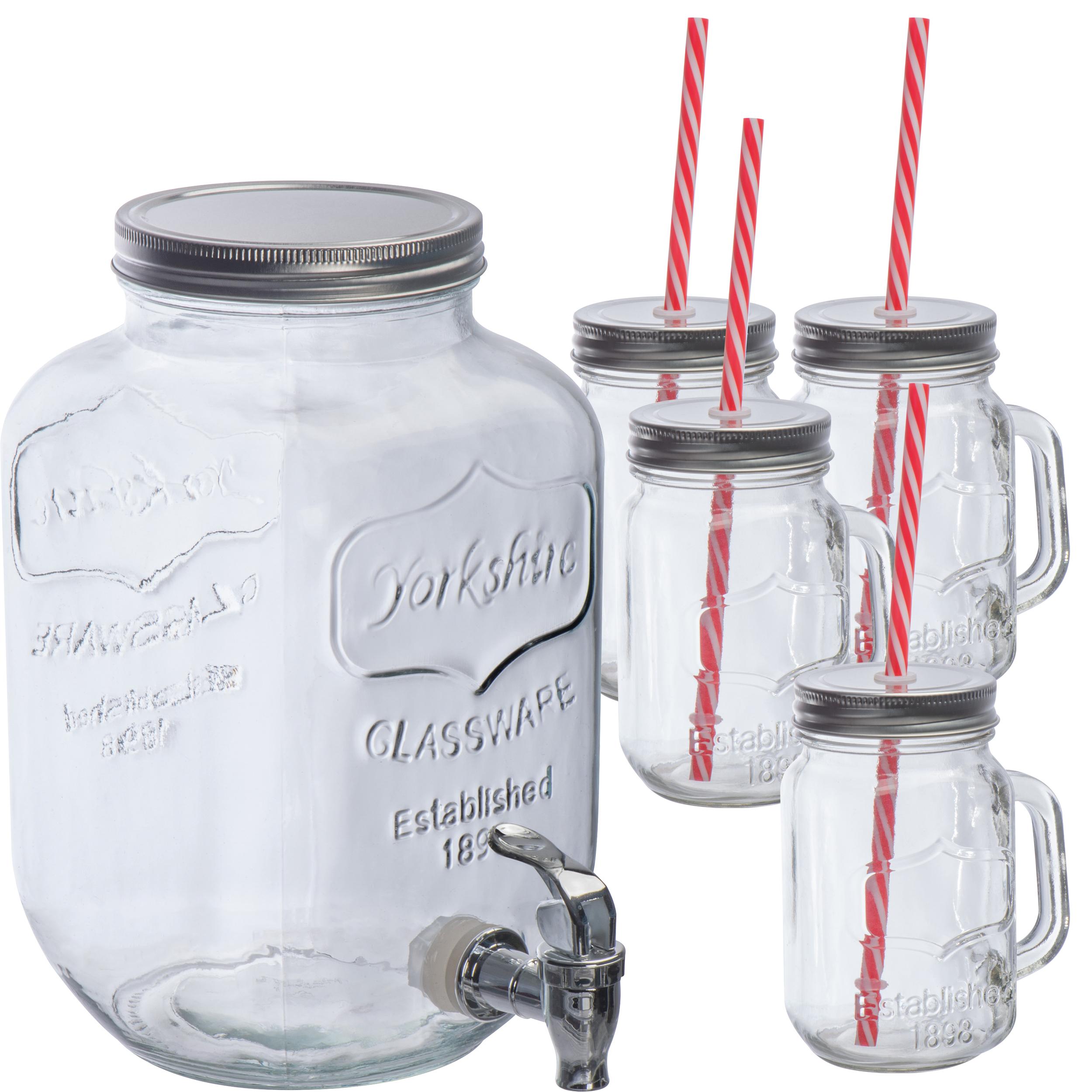 Set de fontaine de verre et 4 verres