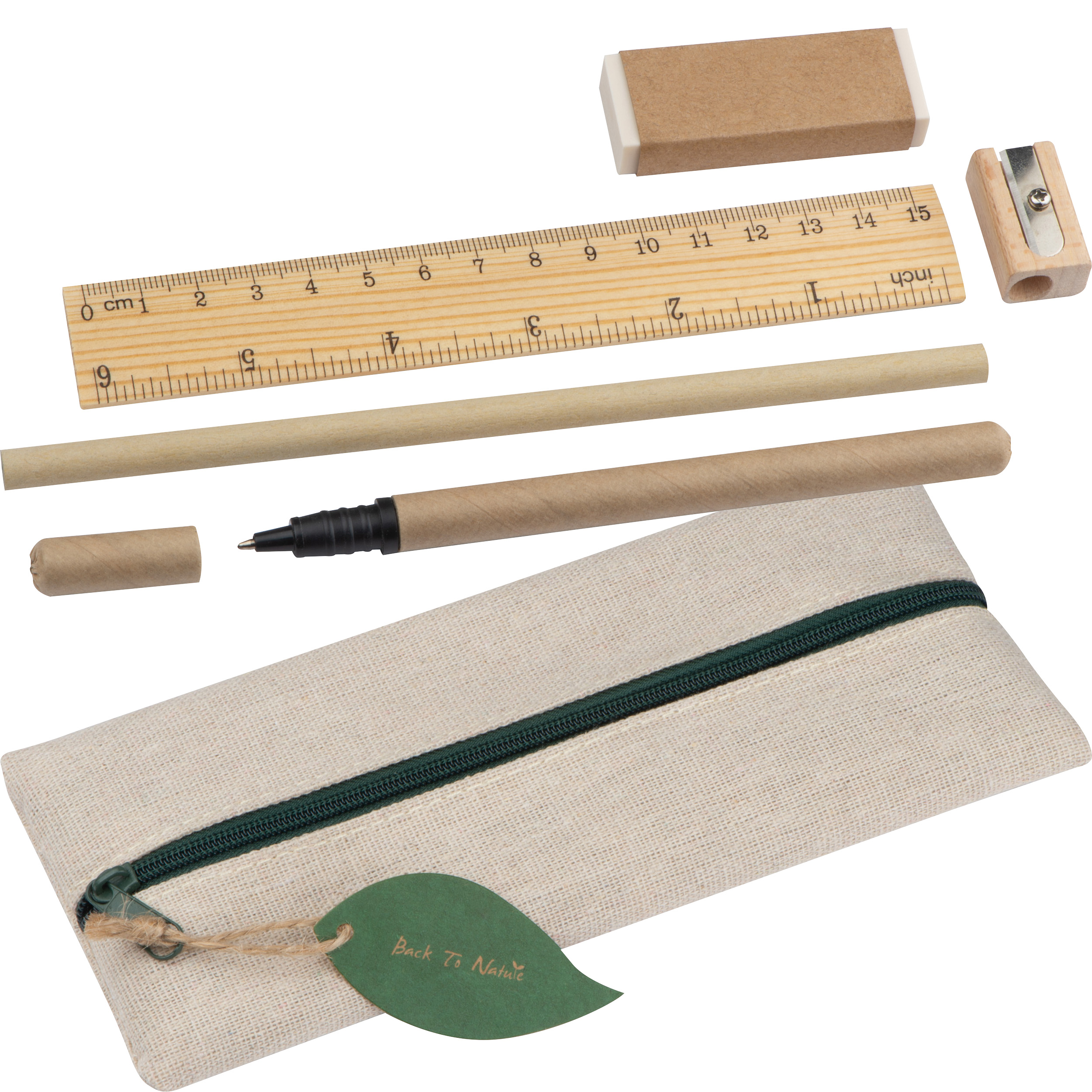 Writing set with ruler, eraser, sharpener, pencil and rollerball