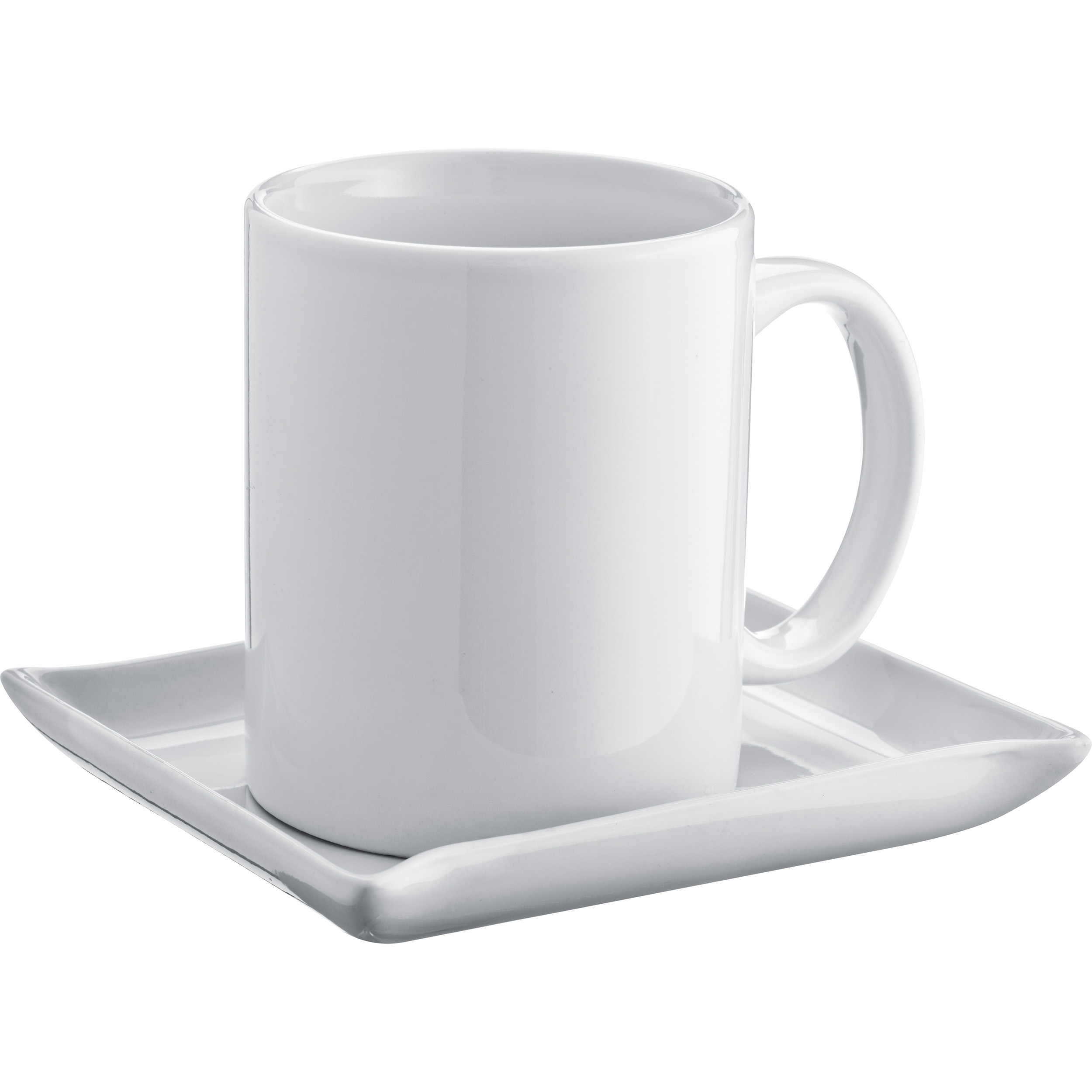 Set of coffee mug and coaster